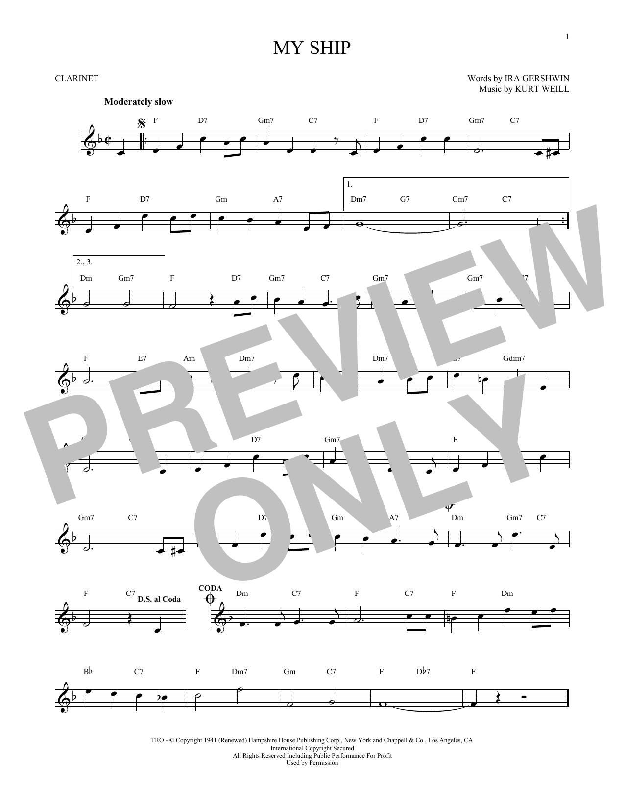 Partition clarinette My Ship de Kurt Weill - Clarinette