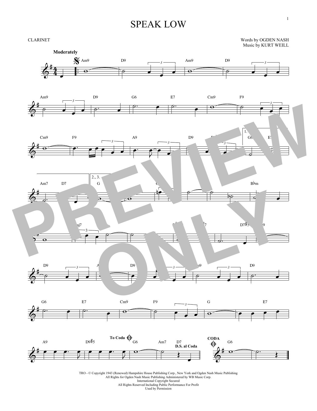 Partition clarinette Speak Low de Kurt Weill - Clarinette