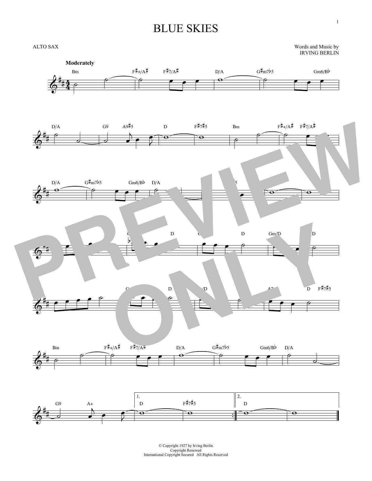 Partition saxophone Blue Skies de Irving Berlin - Sax Alto