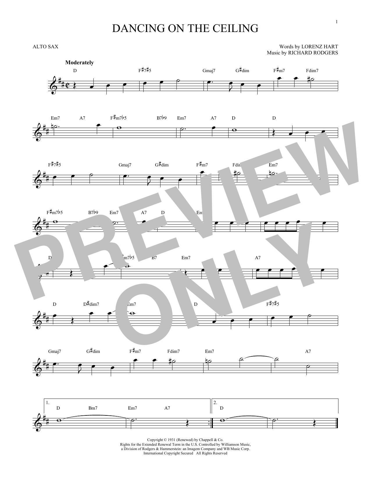 Partition saxophone Dancing On The Ceiling de Rodgers & Hart - Sax Alto