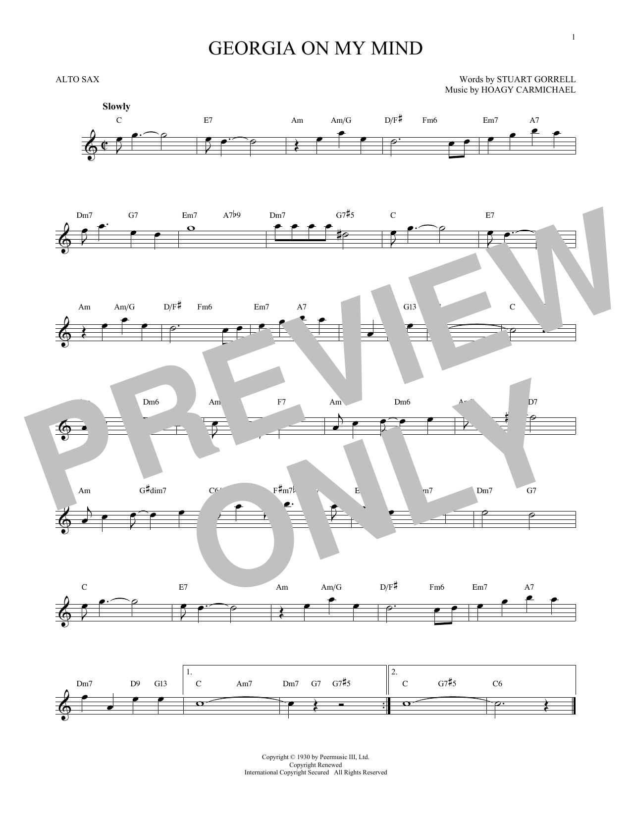 Partition saxophone Georgia On My Mind de Hoagy Carmichael - Sax Alto