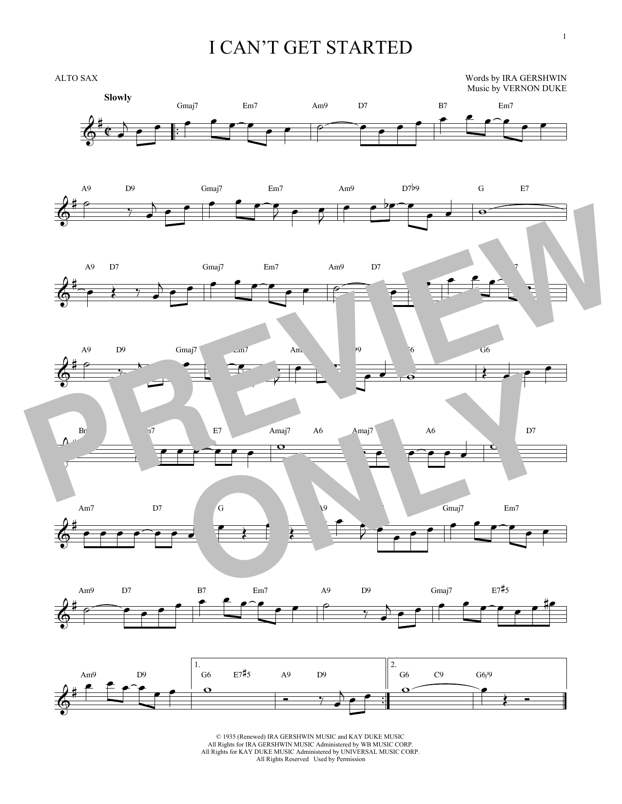 Partition saxophone I Can't Get Started de Ira Gershwin - Sax Alto