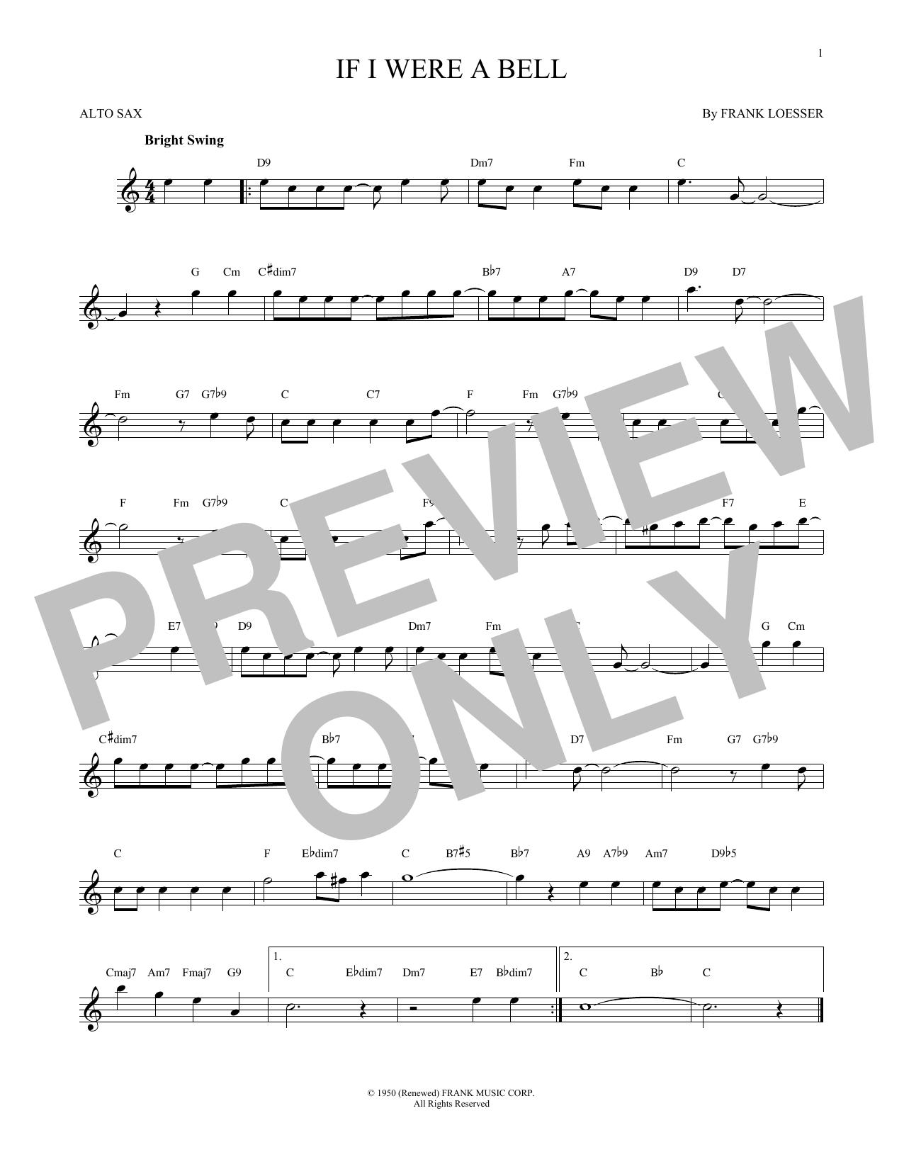 Partition saxophone If I Were A Bell de Frank Loesser - Sax Alto