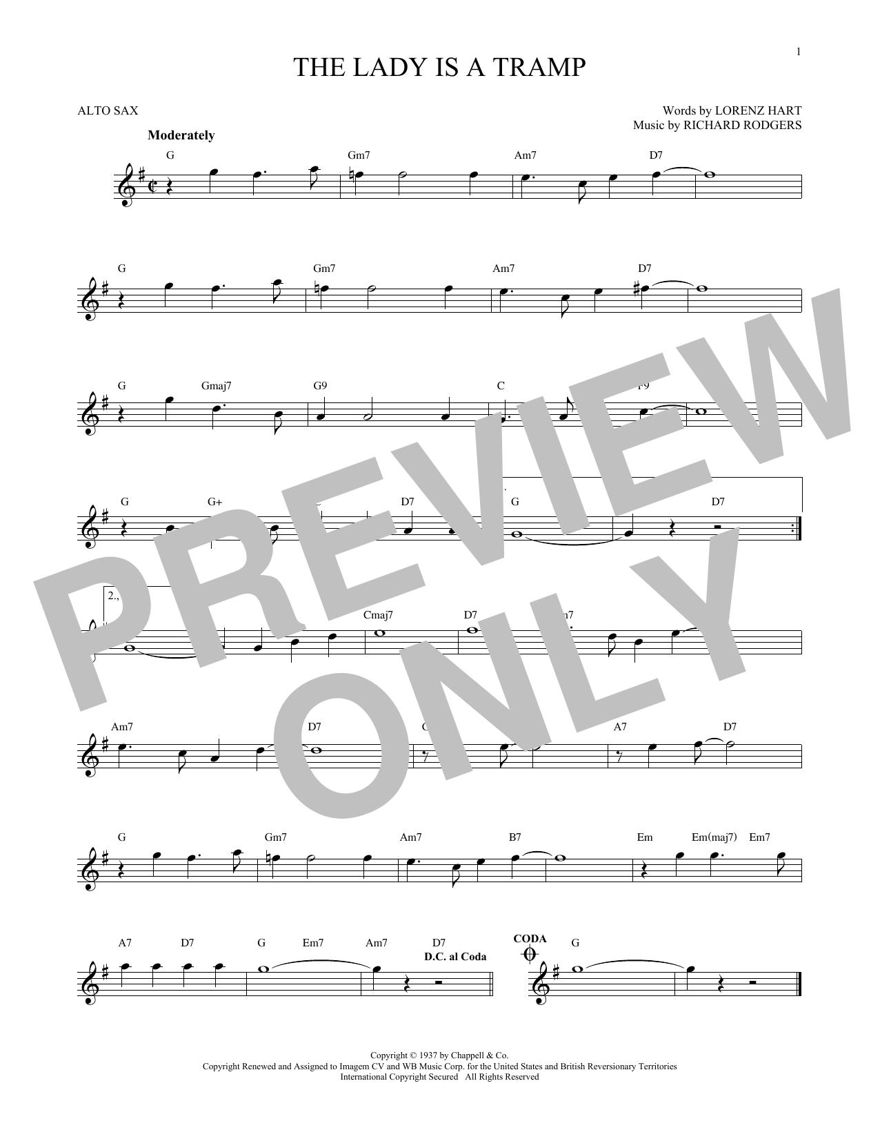 Partition saxophone The Lady Is A Tramp de Rodgers & Hart - Sax Alto