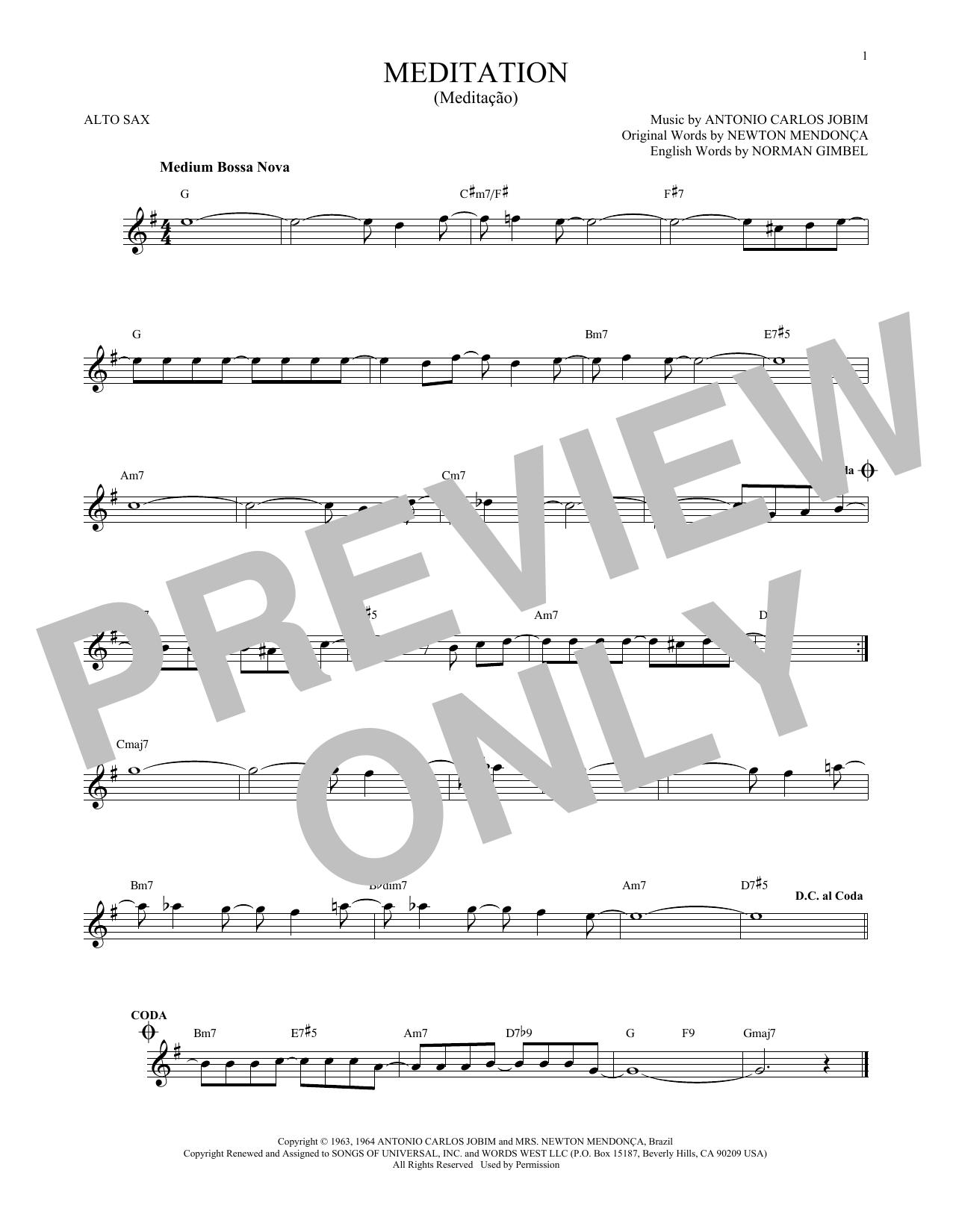 Partition saxophone Meditation (Meditacao) de Antonio Carlos Jobim - Sax Alto