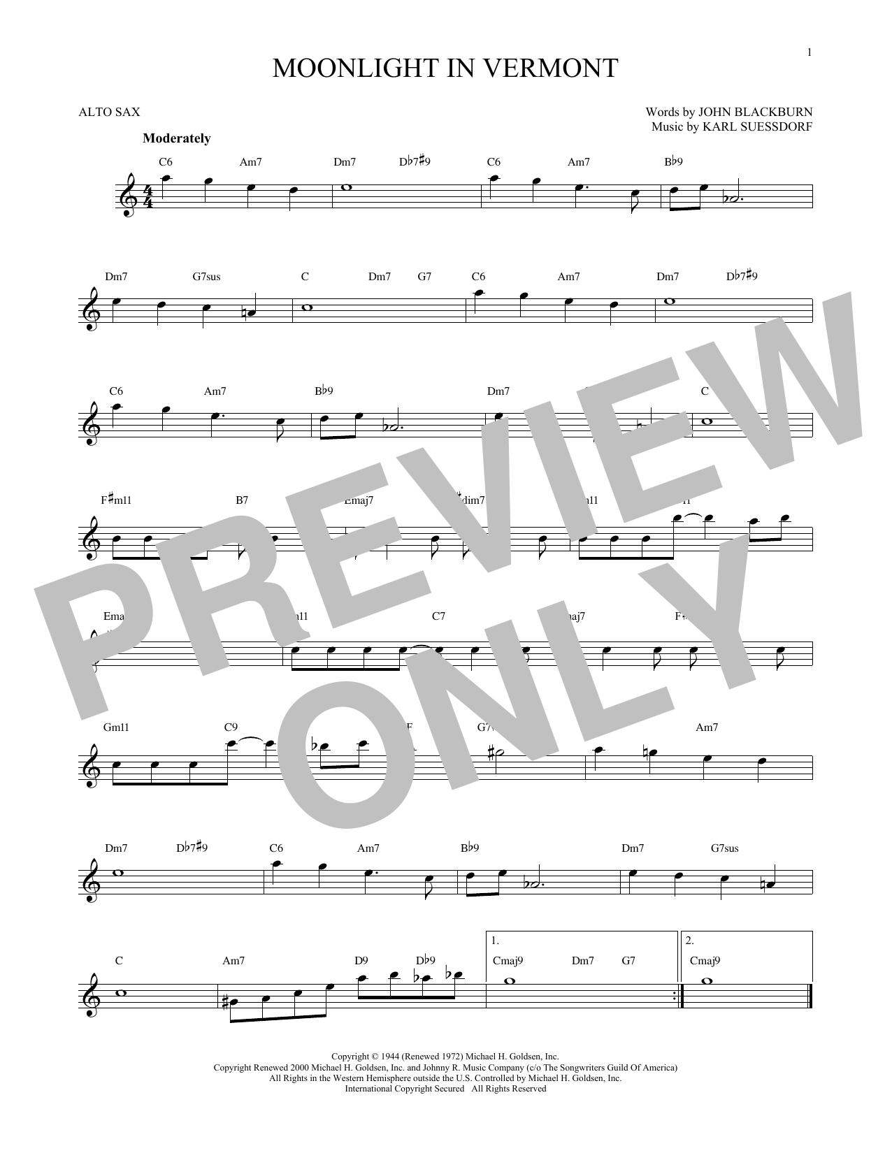 Partition saxophone Moonlight In Vermont de Karl Suessdorf - Sax Alto