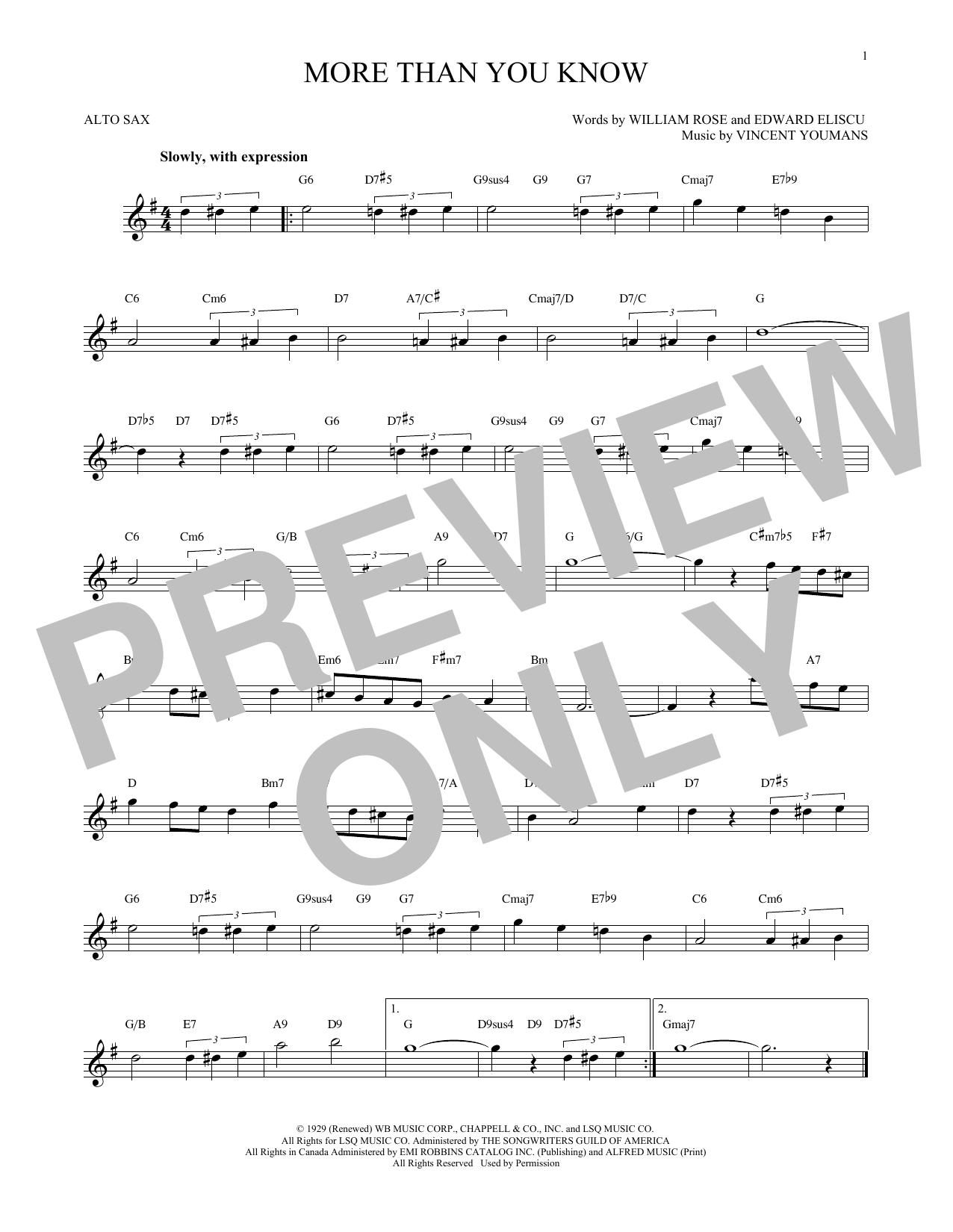 Partition saxophone More Than You Know de Vincent Youmans - Sax Alto