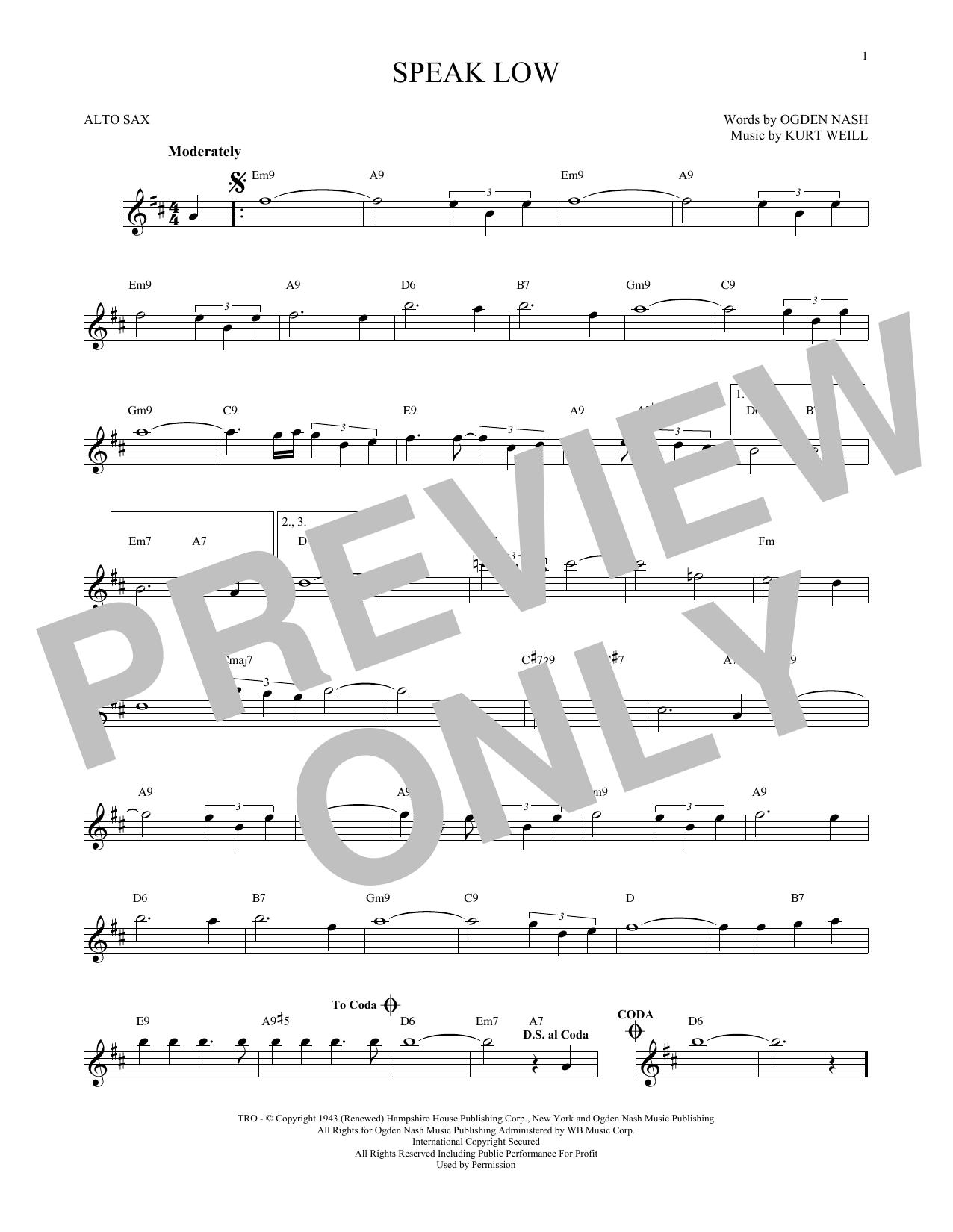 Partition saxophone Speak Low de Kurt Weill - Sax Alto