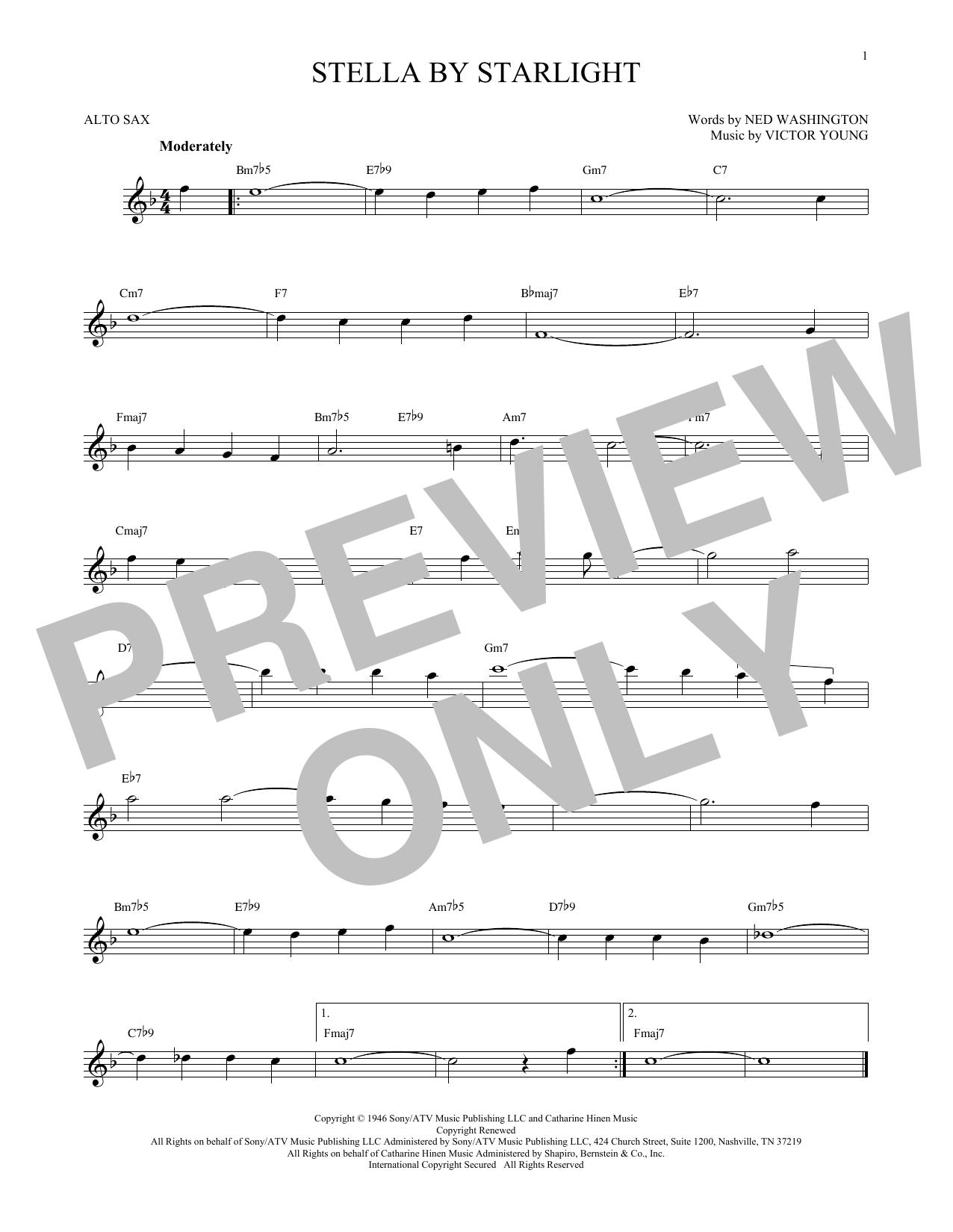 Partition saxophone Stella By Starlight de Victor Young - Sax Alto