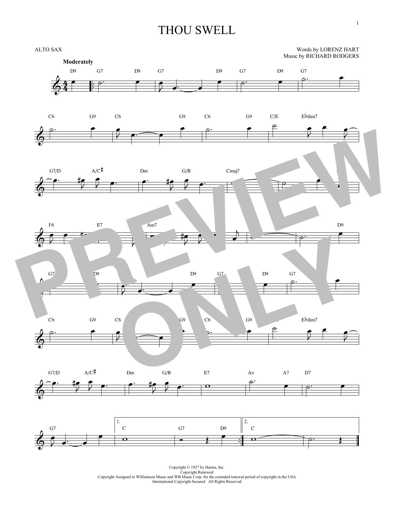 Partition saxophone Thou Swell de Rodgers & Hart - Sax Alto