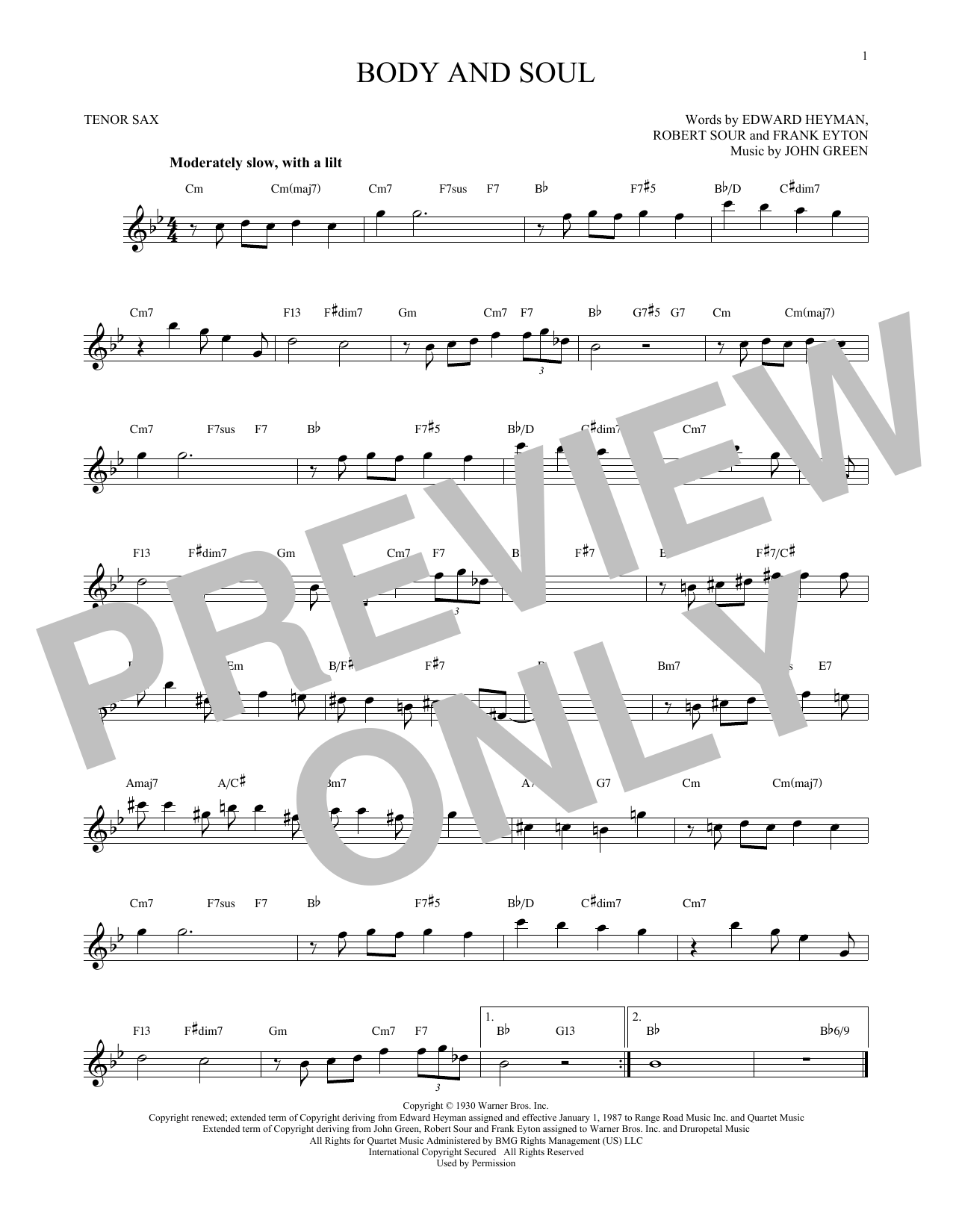 Partition saxophone Body And Soul de John Green - Sax Tenor