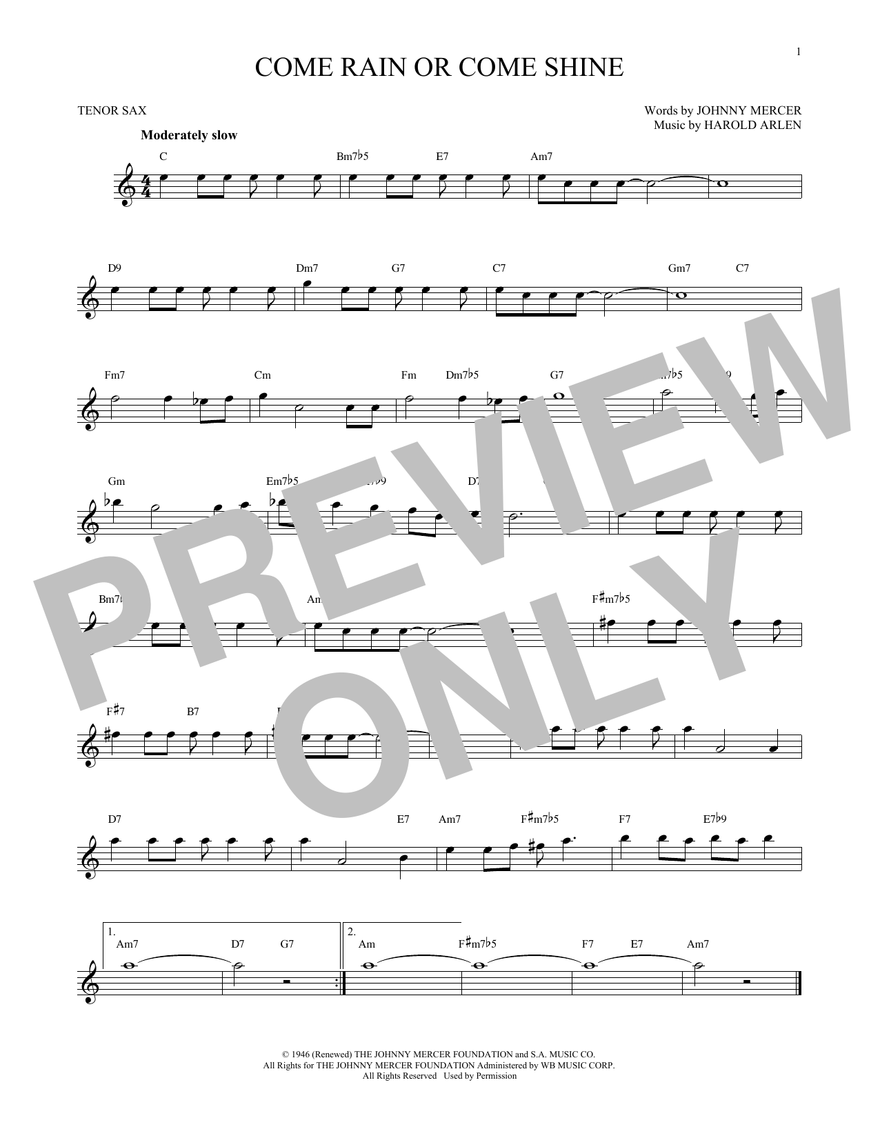 Partition saxophone Come Rain Or Come Shine de Harold Arlen - Sax Tenor