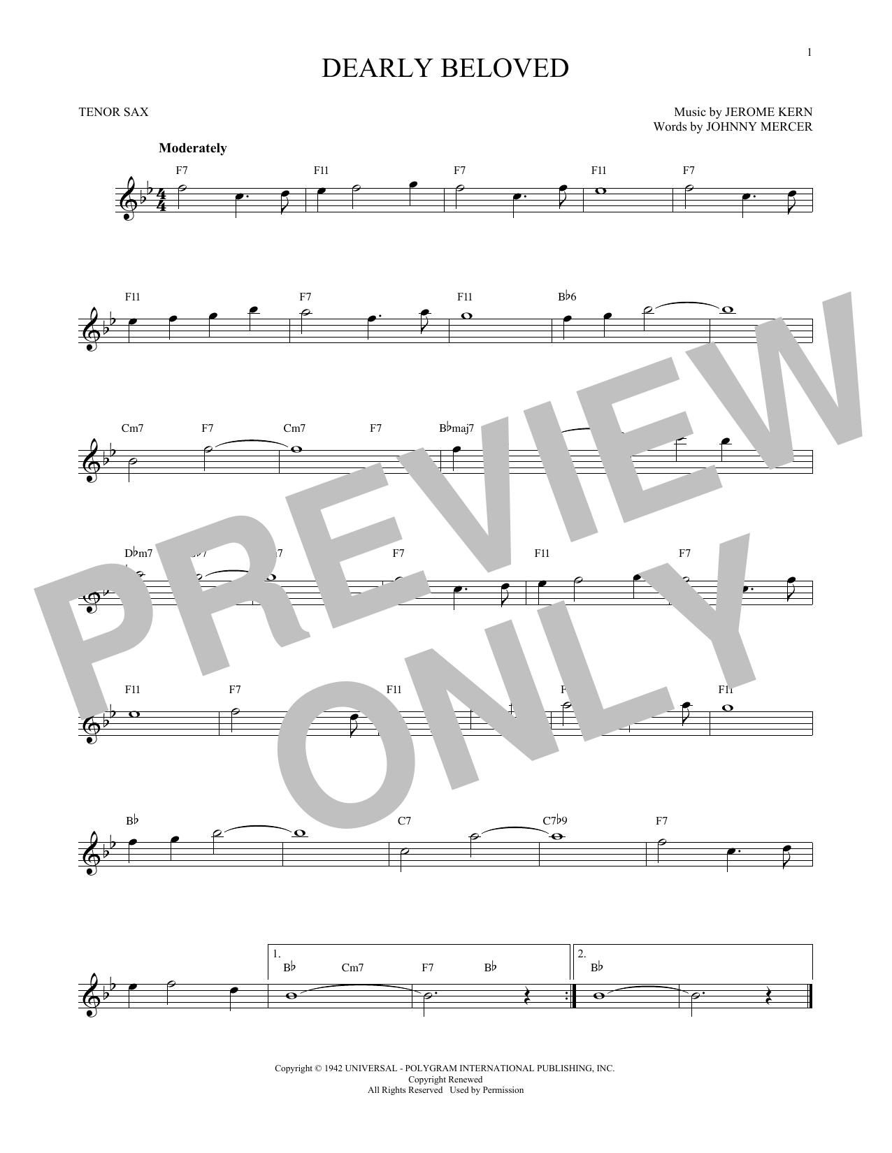 Partition saxophone Dearly Beloved de Jerome Kern - Sax Tenor