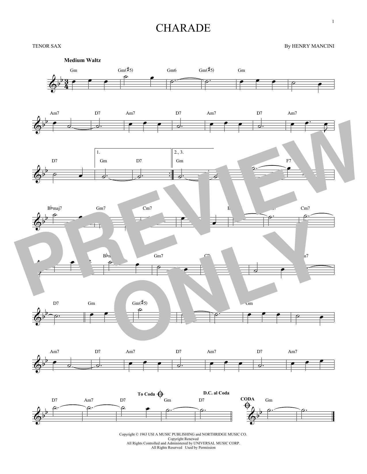 Partition saxophone Charade de Henry Mancini - Sax Tenor