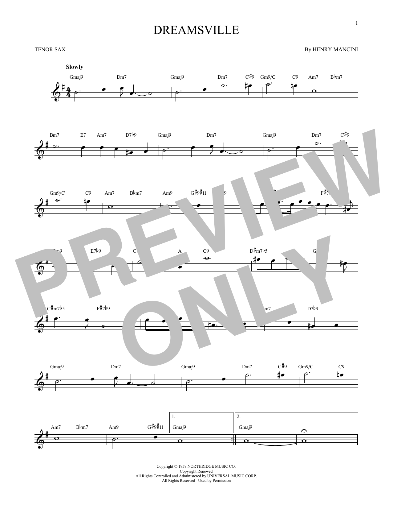 Partition saxophone Dreamsville de Henry Mancini - Sax Tenor