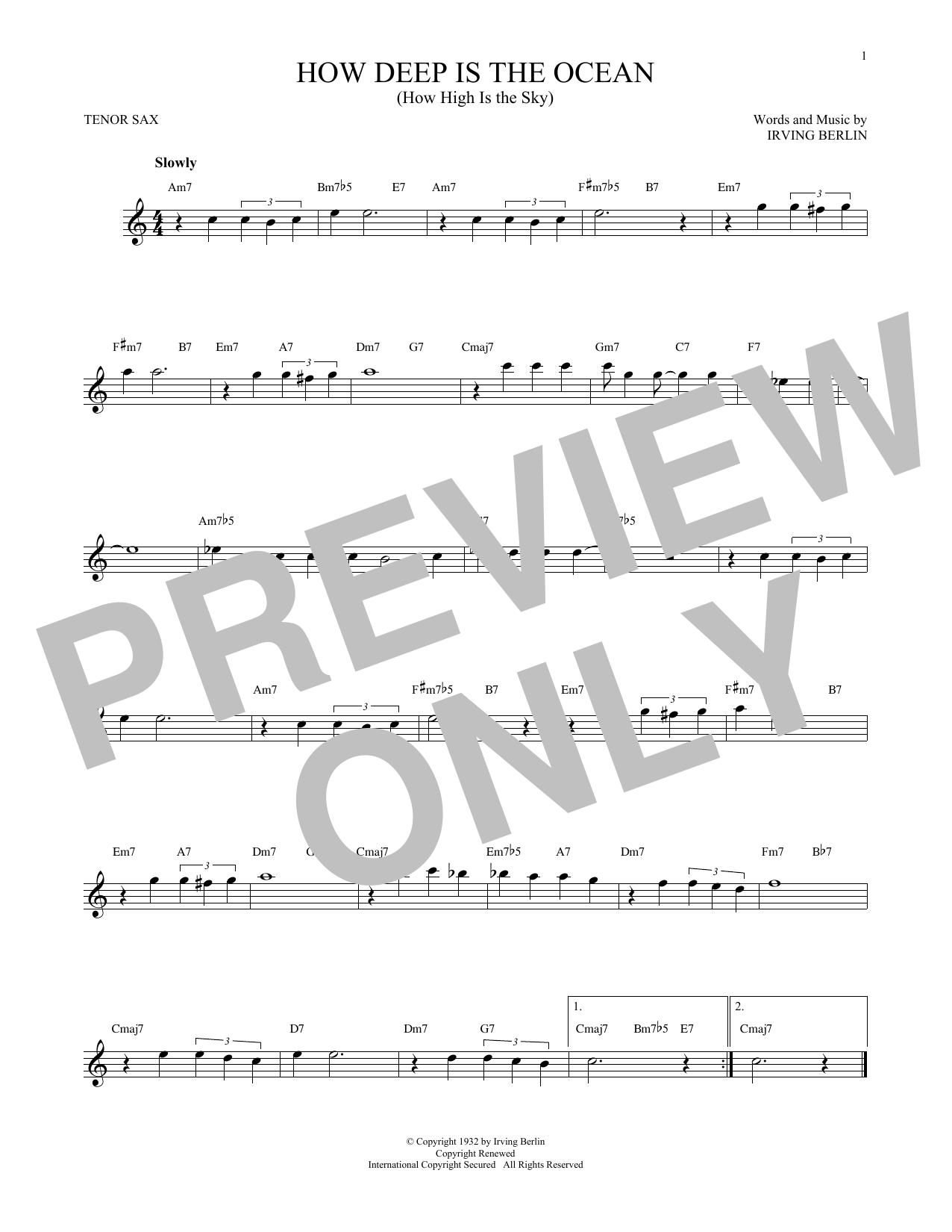 Partition saxophone How Deep Is The Ocean (How High Is The Sky) de Irving Berlin - Sax Tenor