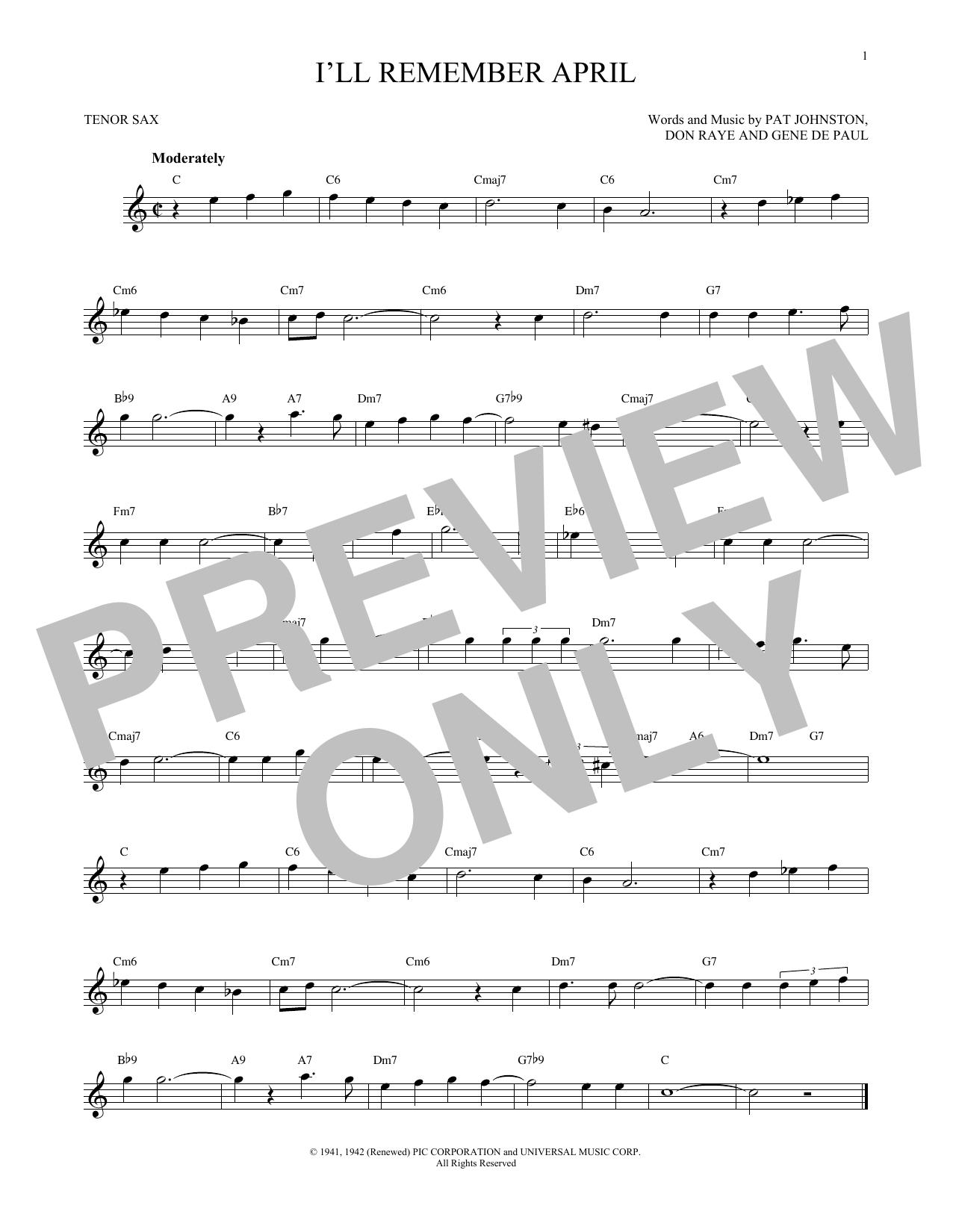 Partition saxophone I'll Remember April de Woody Herman & His Orchestra - Sax Tenor