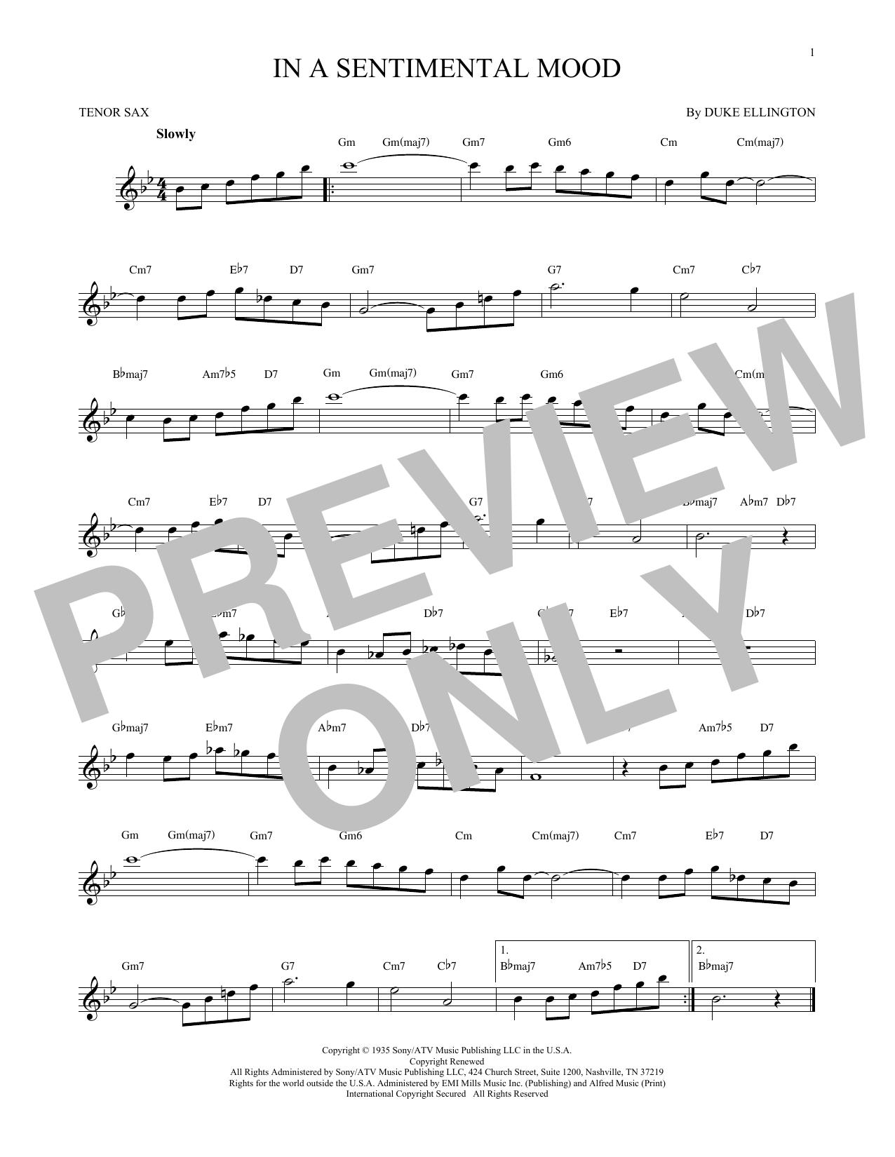 Partition saxophone In A Sentimental Mood de Duke Ellington - Sax Tenor