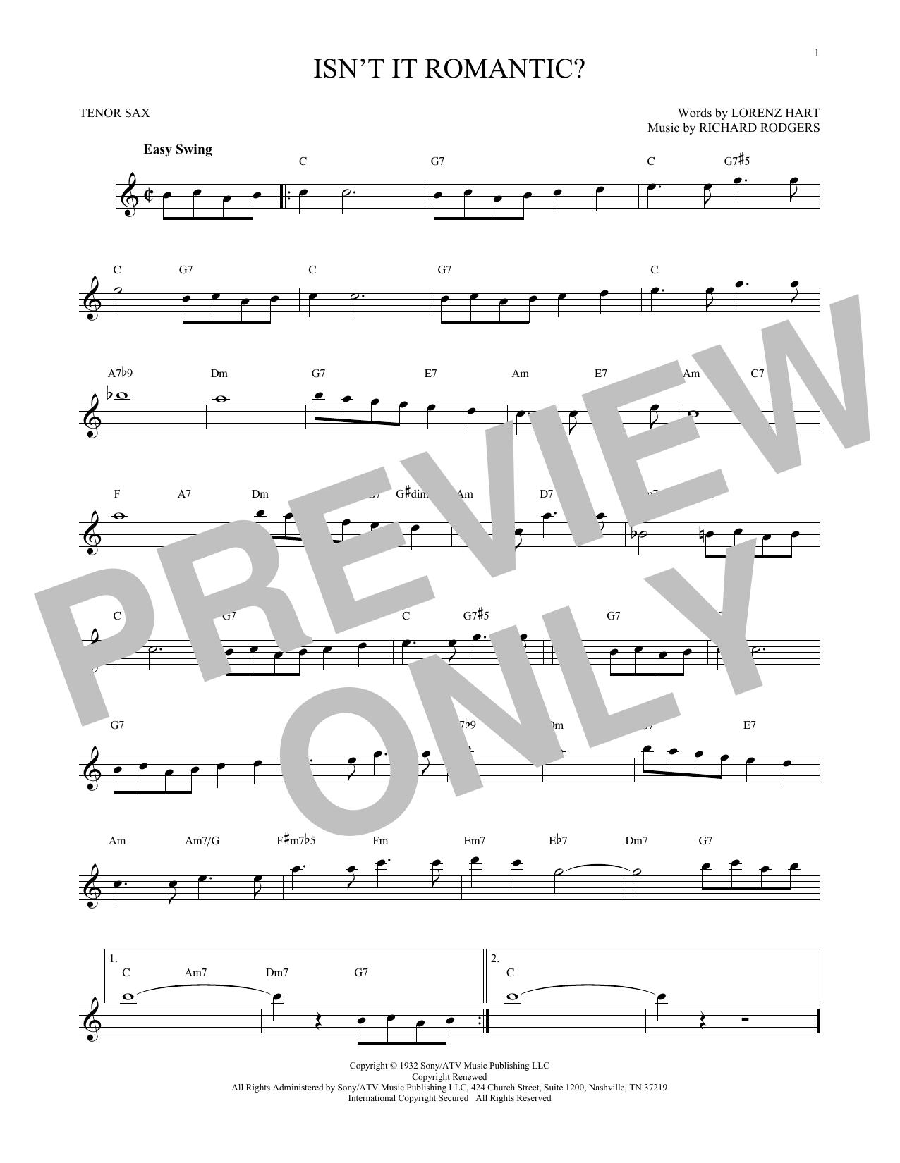 Partition saxophone Isn't It Romantic? de Rodgers & Hart - Sax Tenor