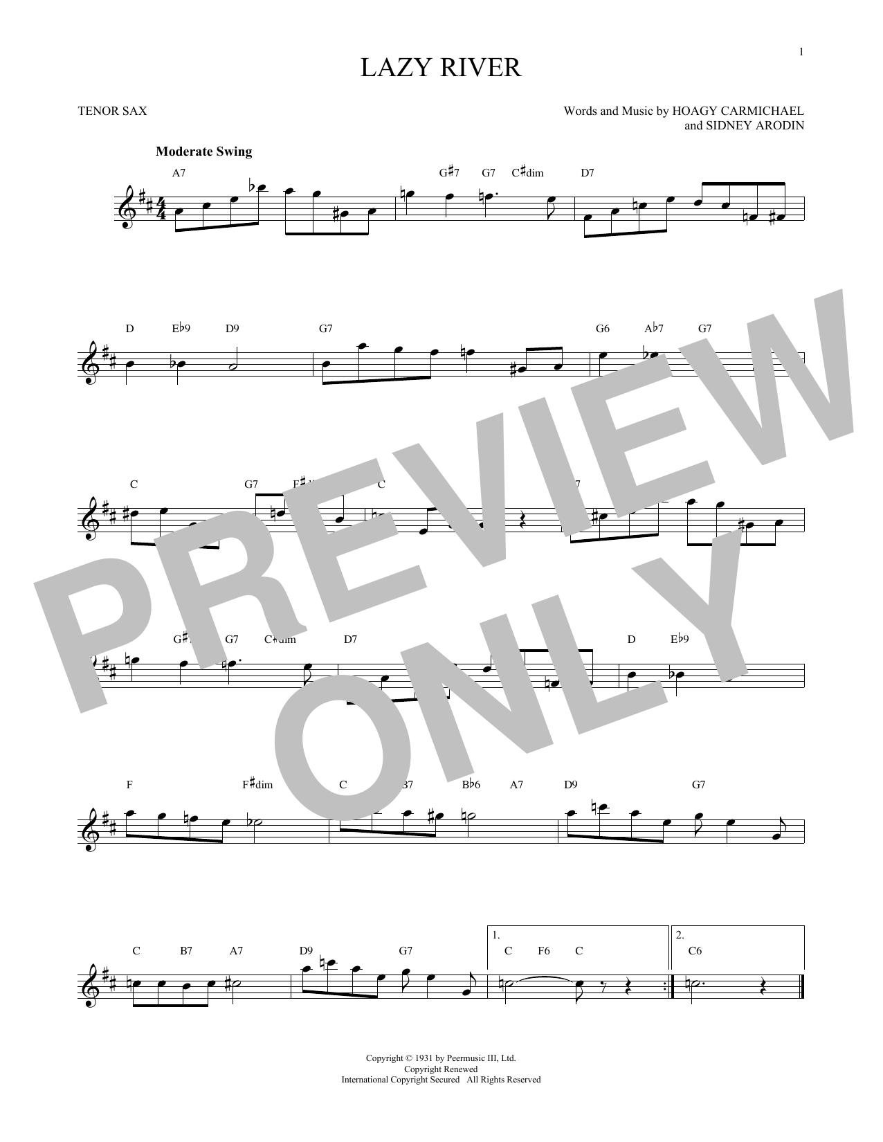 Partition saxophone Lazy River de Hoagy Carmichael - Sax Tenor