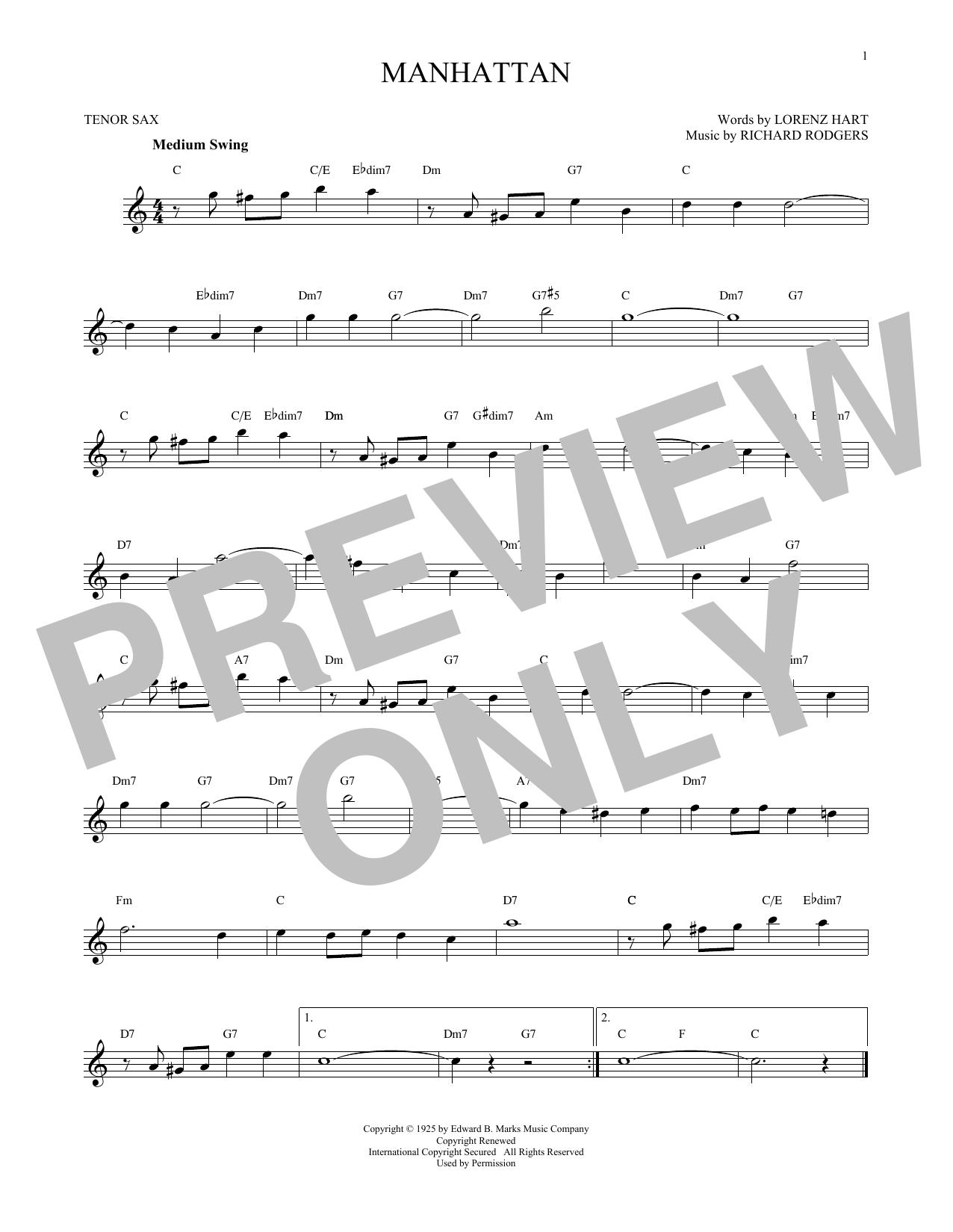 Partition saxophone Manhattan de Rodgers & Hart - Sax Tenor