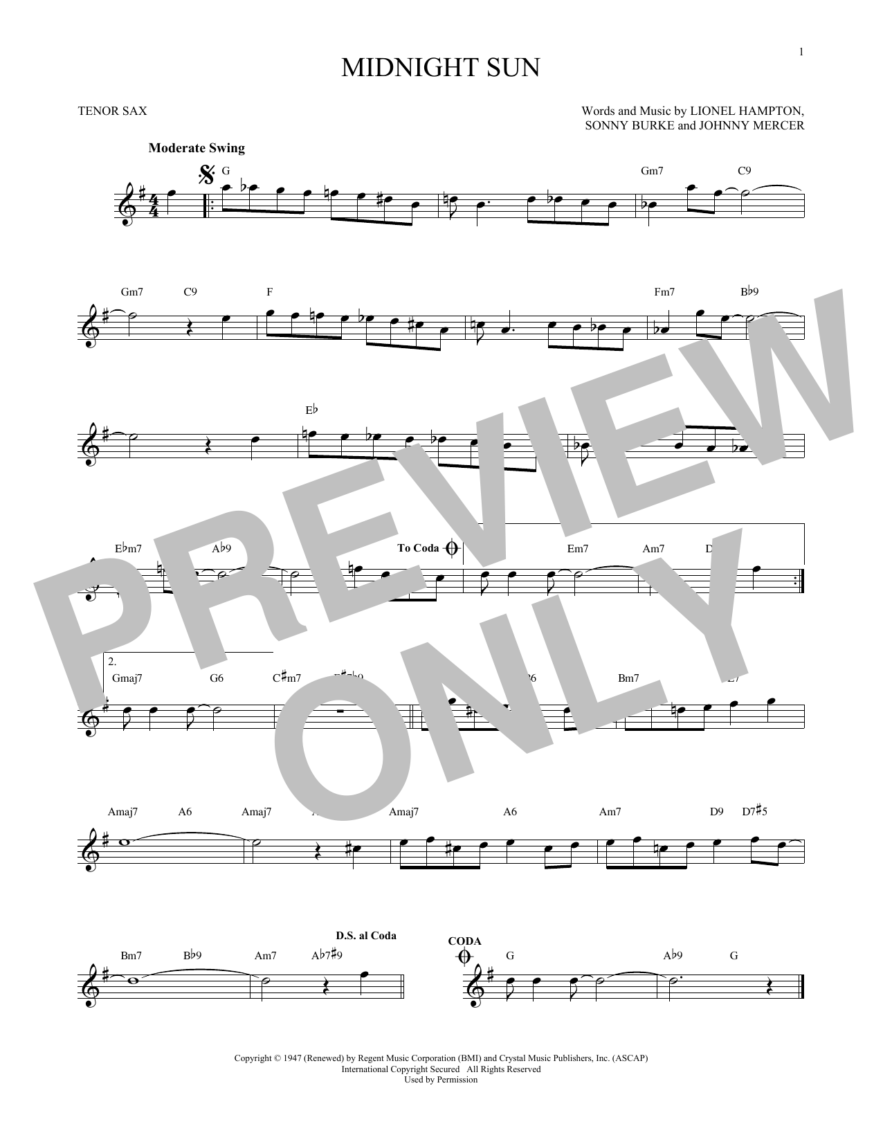 Partition saxophone Midnight Sun de Johnny Mercer - Sax Tenor