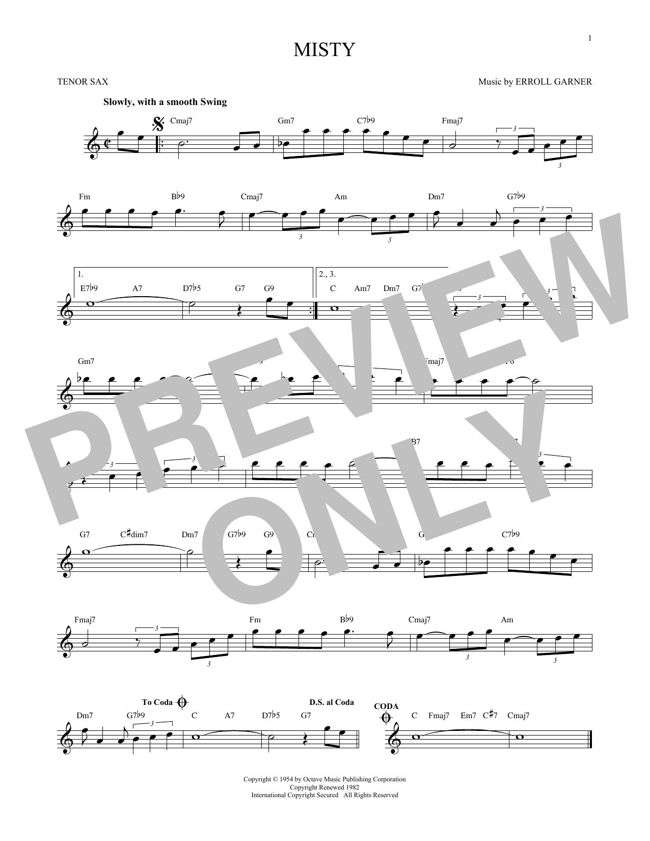 Partition saxophone Misty de Erroll Garner - Sax Tenor