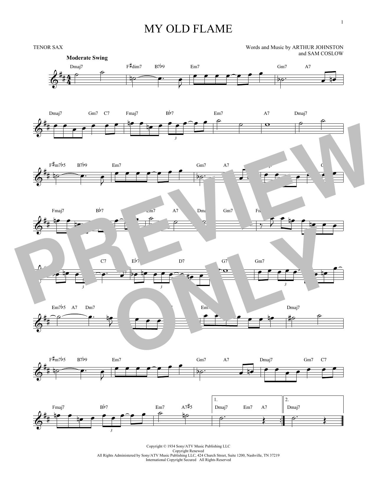 Partition saxophone My Old Flame de Sam Coslow - Sax Tenor