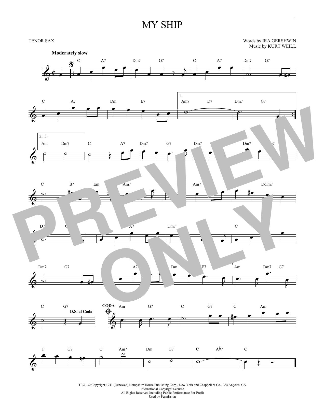 Partition saxophone My Ship de Kurt Weill - Sax Tenor