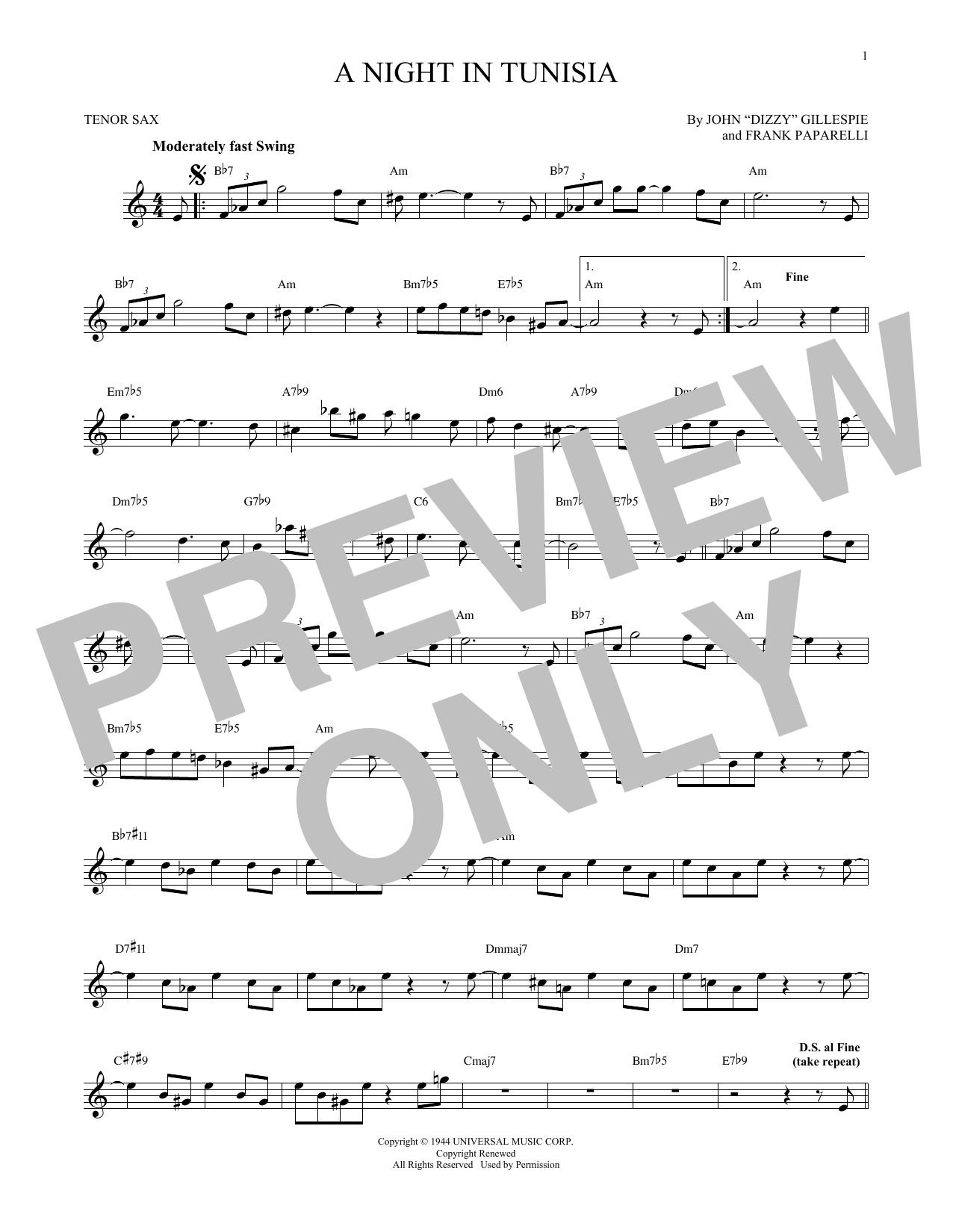 Partition saxophone A Night In Tunisia de Dizzy Gillespie - Sax Tenor