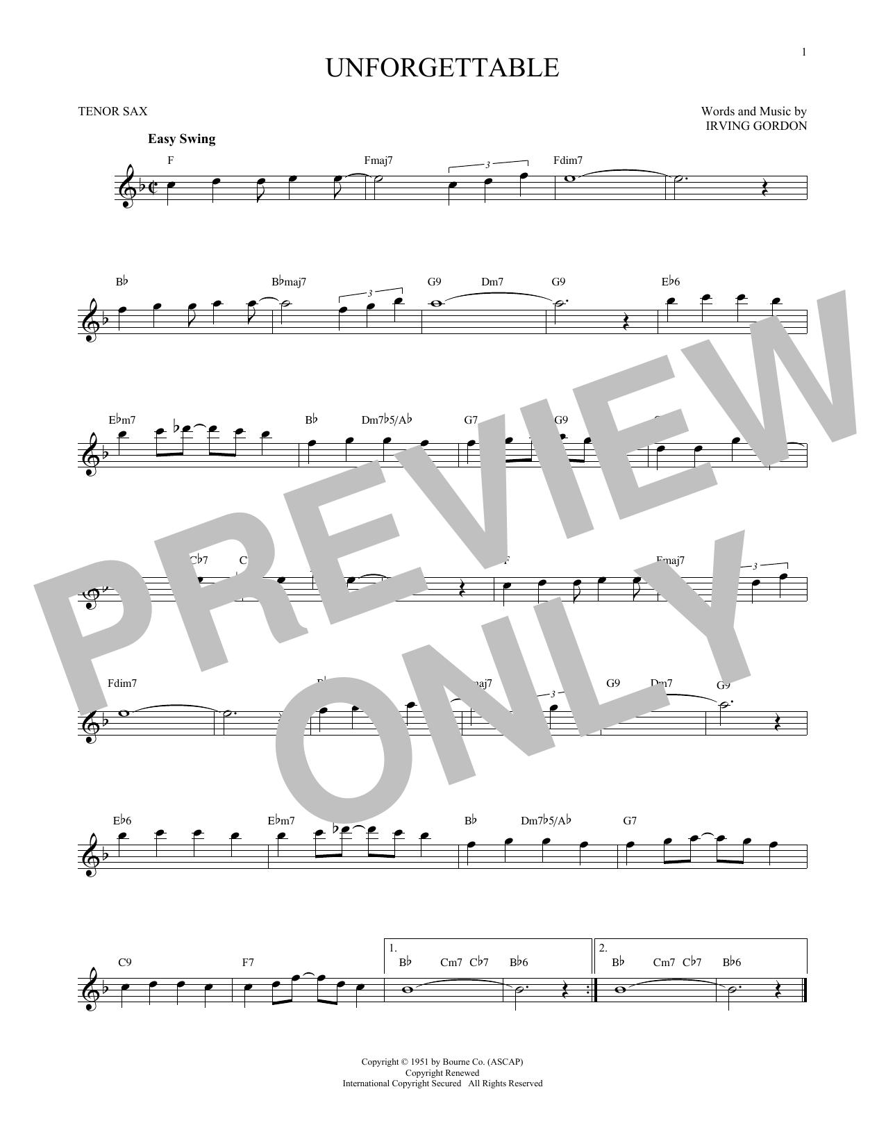 Partition saxophone Unforgettable de Irving Gordon - Sax Tenor