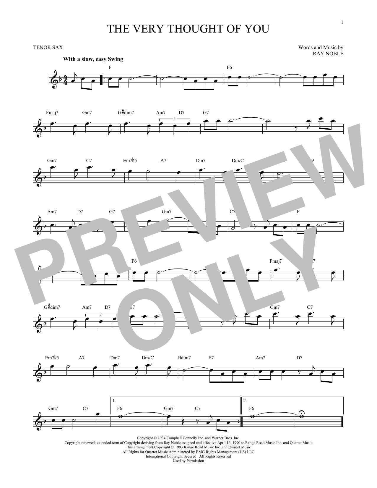 Partition saxophone The Very Thought Of You de Ray Noble - Sax Tenor