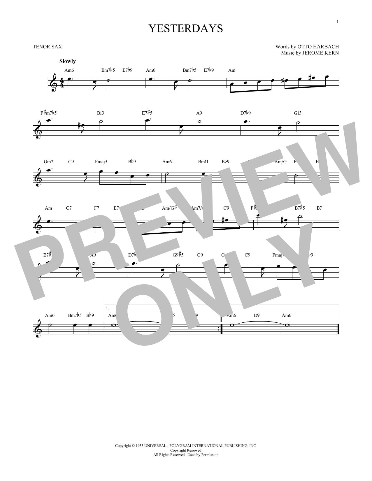 Partition saxophone Yesterdays de Jerome Kern - Sax Tenor