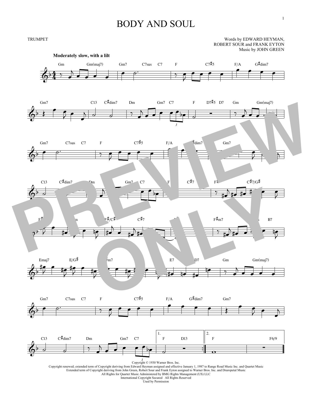 Partition autre Body And Soul de John Green - Trompette
