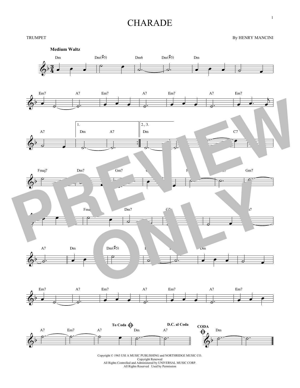 Partition autre Charade de Henry Mancini - Trompette