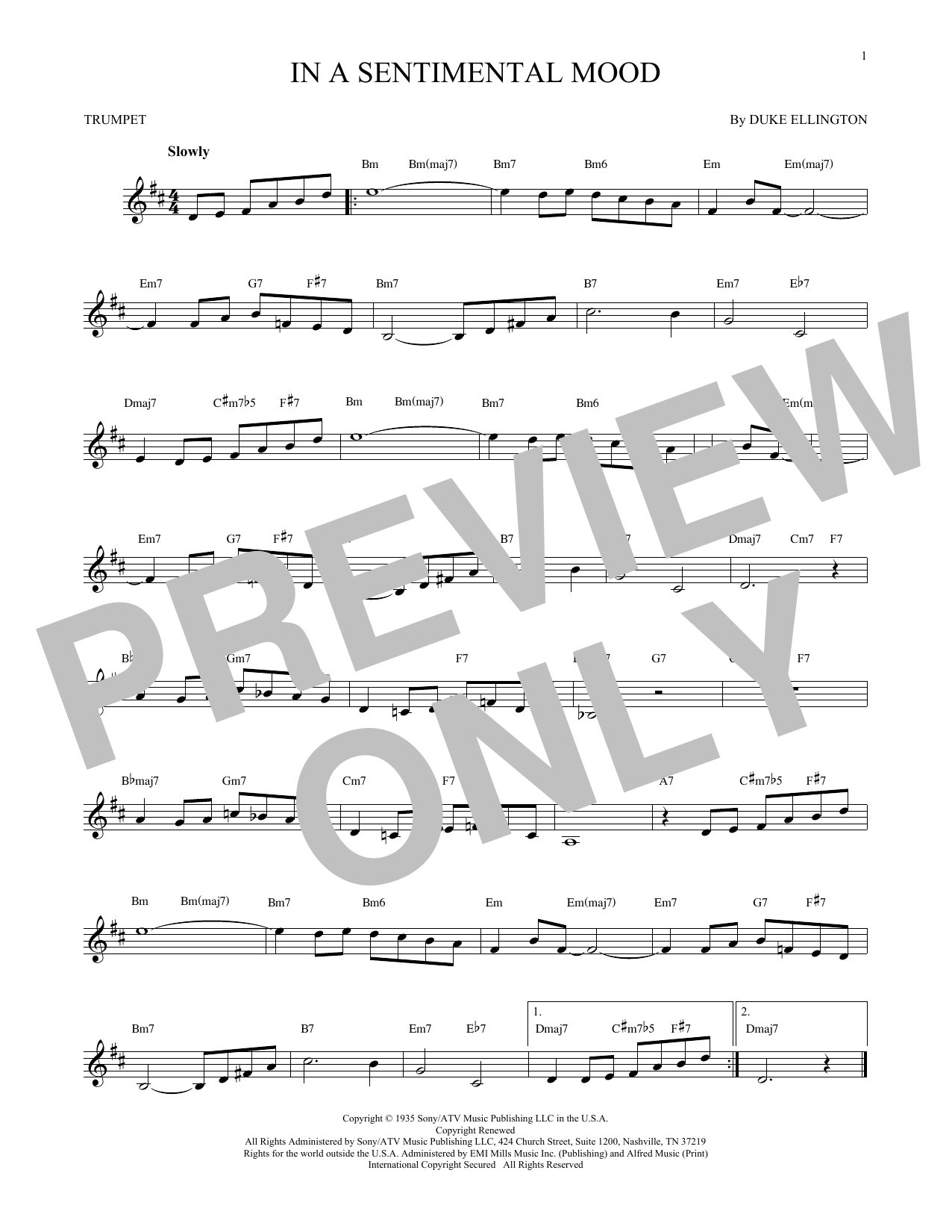 Partition autre In A Sentimental Mood de Duke Ellington - Trompette