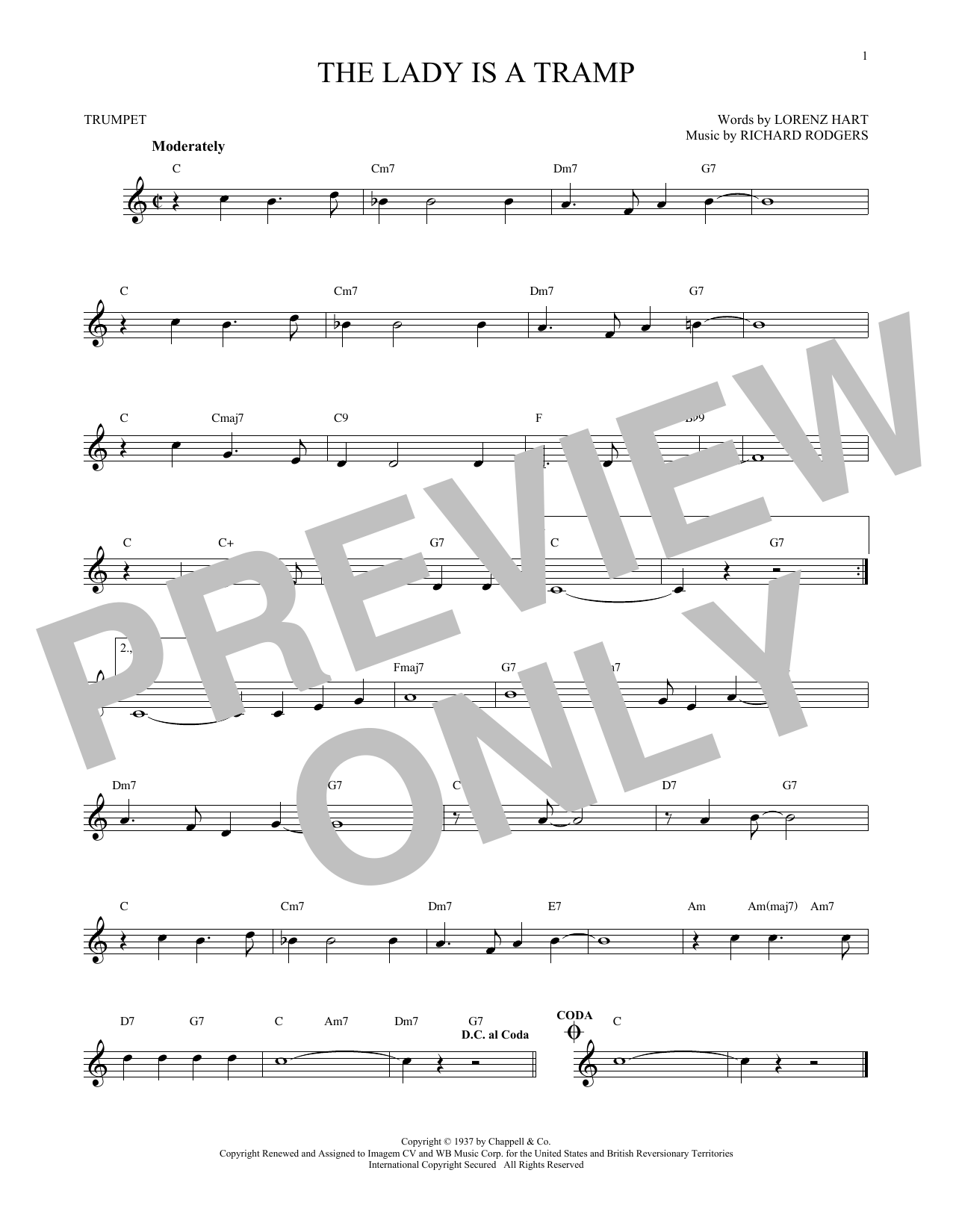 Partition autre The Lady Is A Tramp de Rodgers & Hart - Trompette