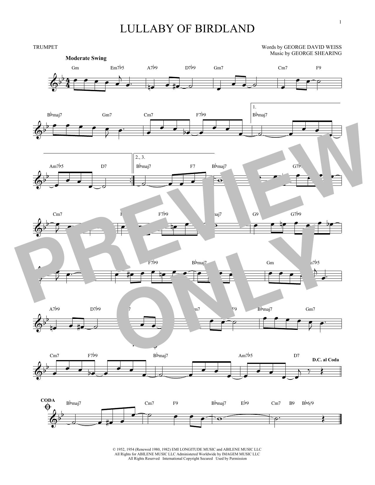 Partition autre Lullaby Of Birdland de George Shearing - Trompette