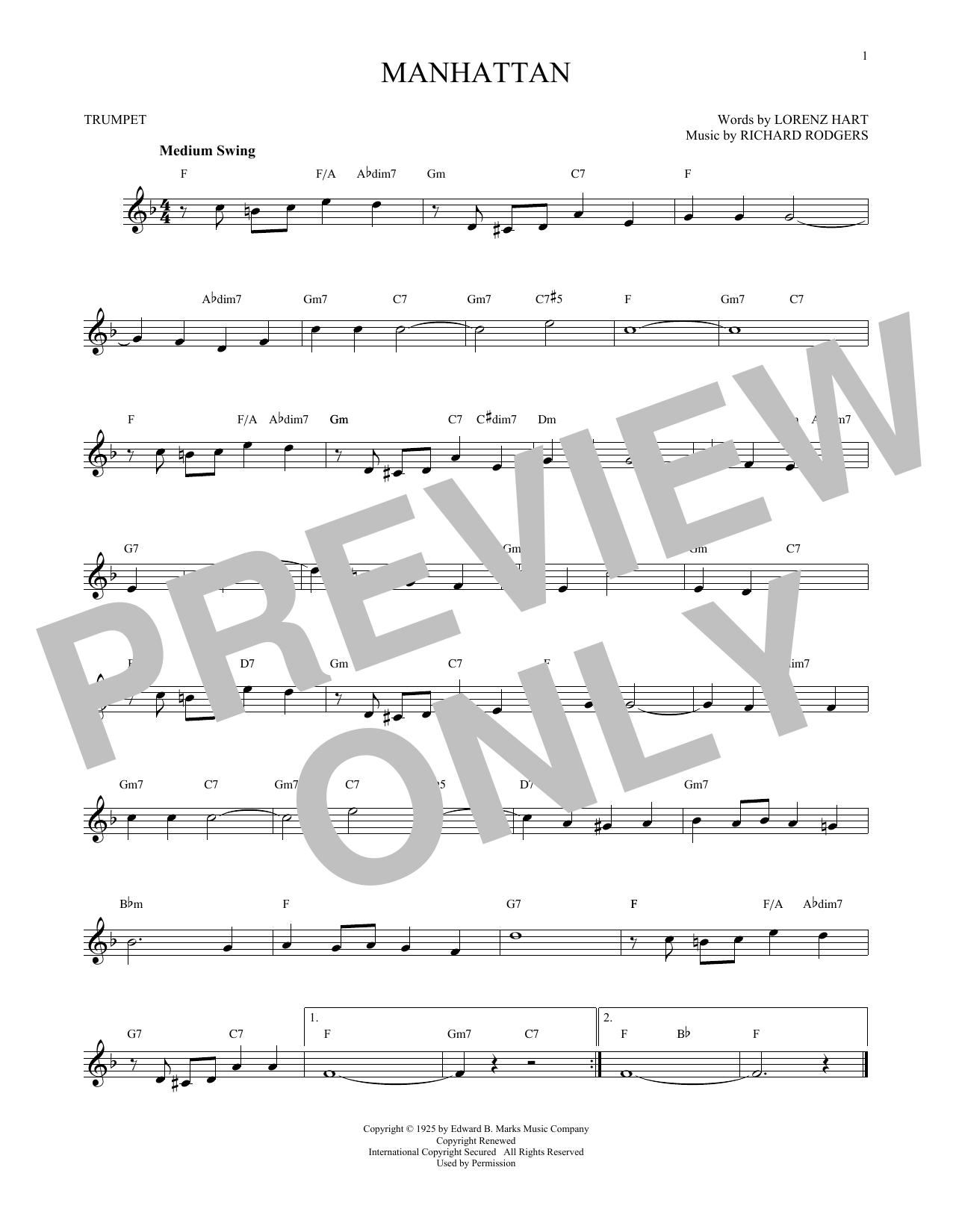 Partition autre Manhattan de Rodgers & Hart - Trompette
