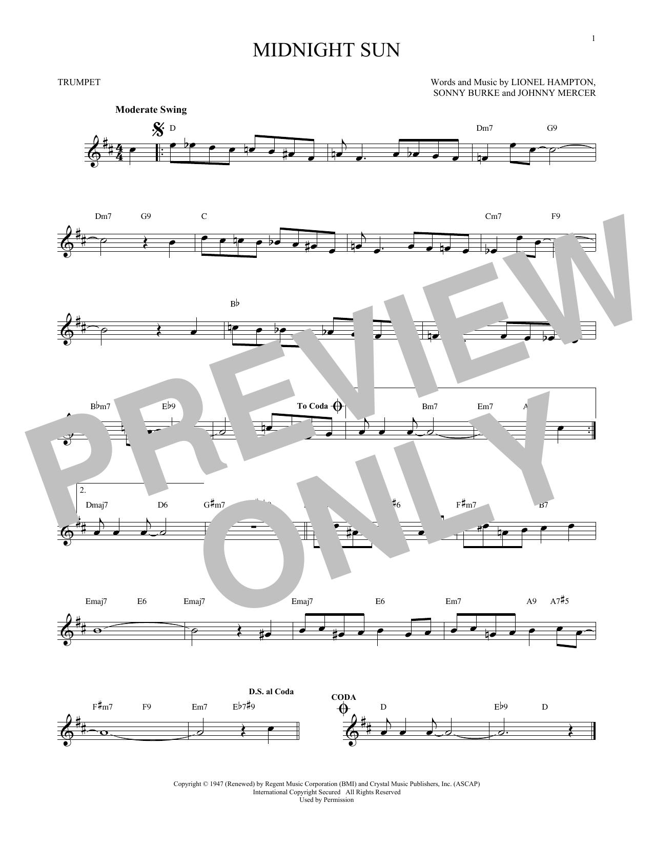 Partition autre Midnight Sun de Johnny Mercer - Trompette