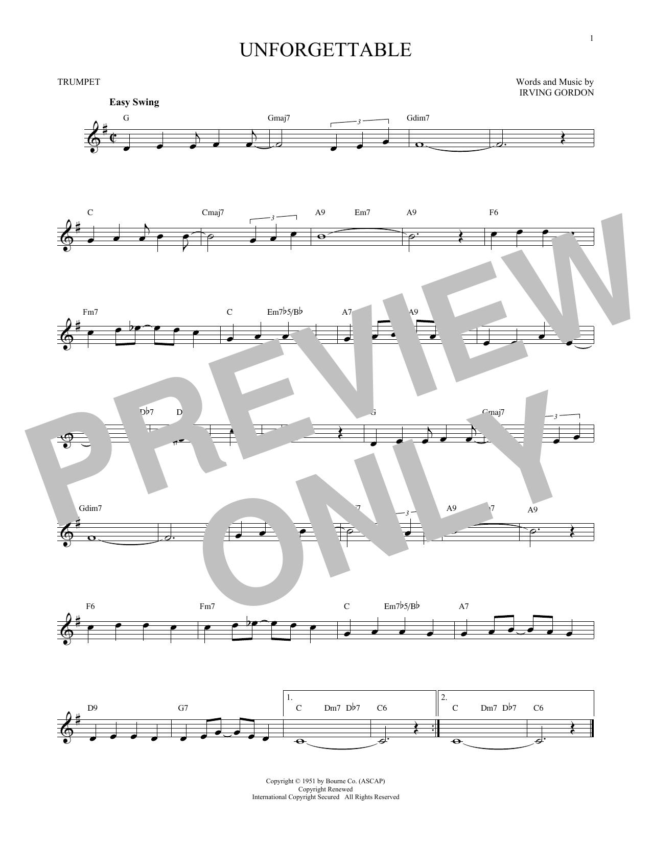 Partition autre Unforgettable de Irving Gordon - Trompette