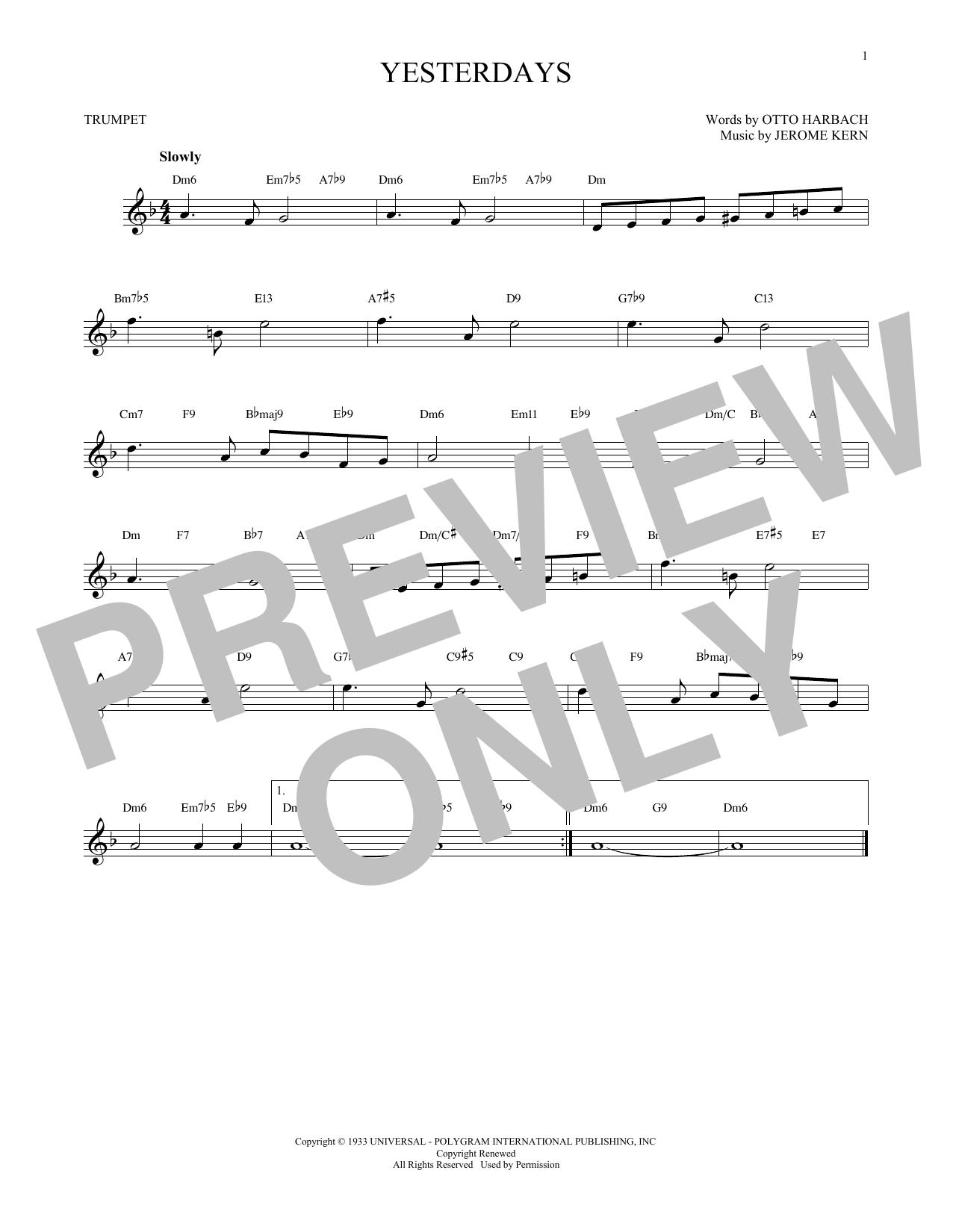 Partition autre Yesterdays de Jerome Kern - Trompette
