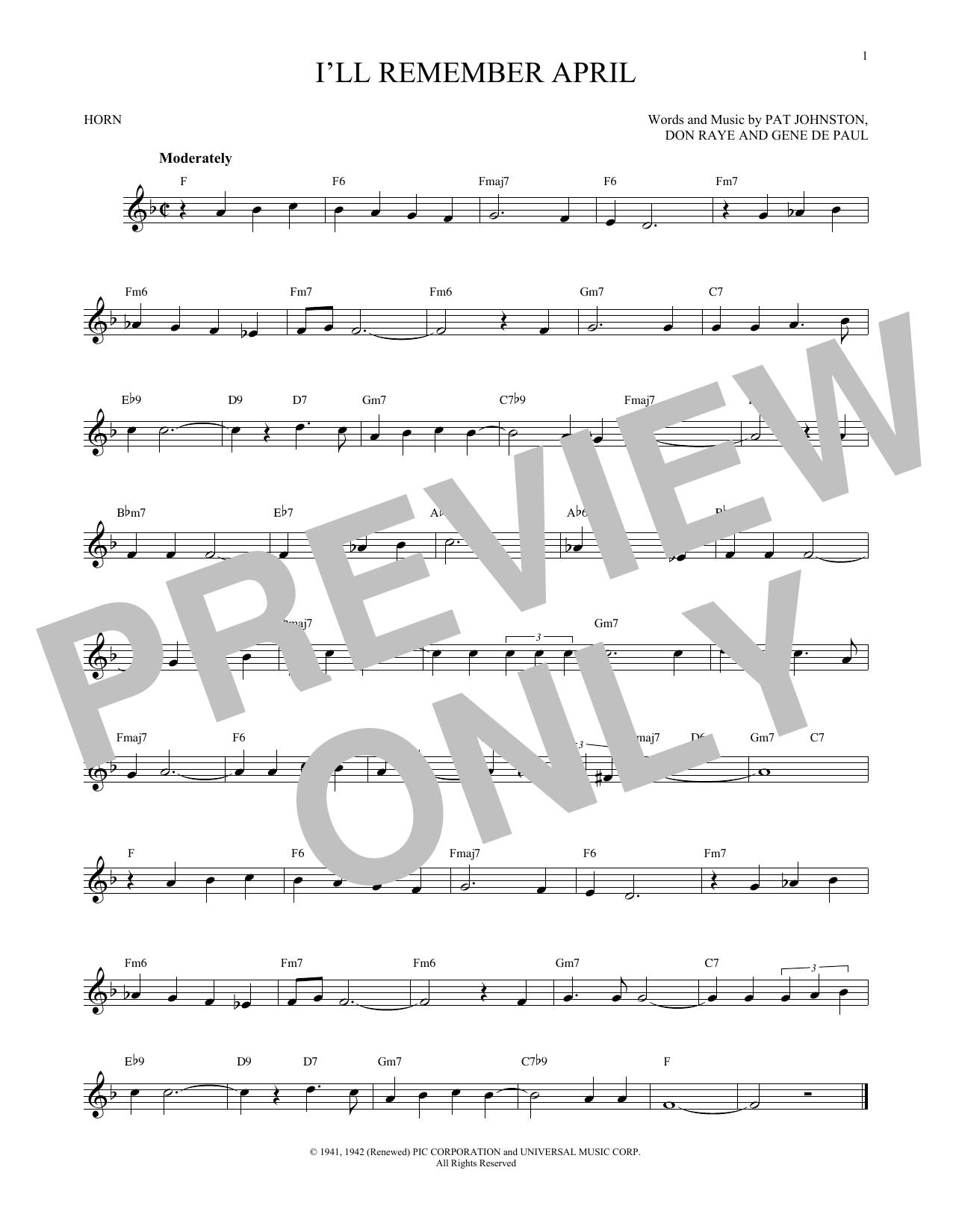 Partition autre I'll Remember April de Woody Herman & His Orchestra - Cor
