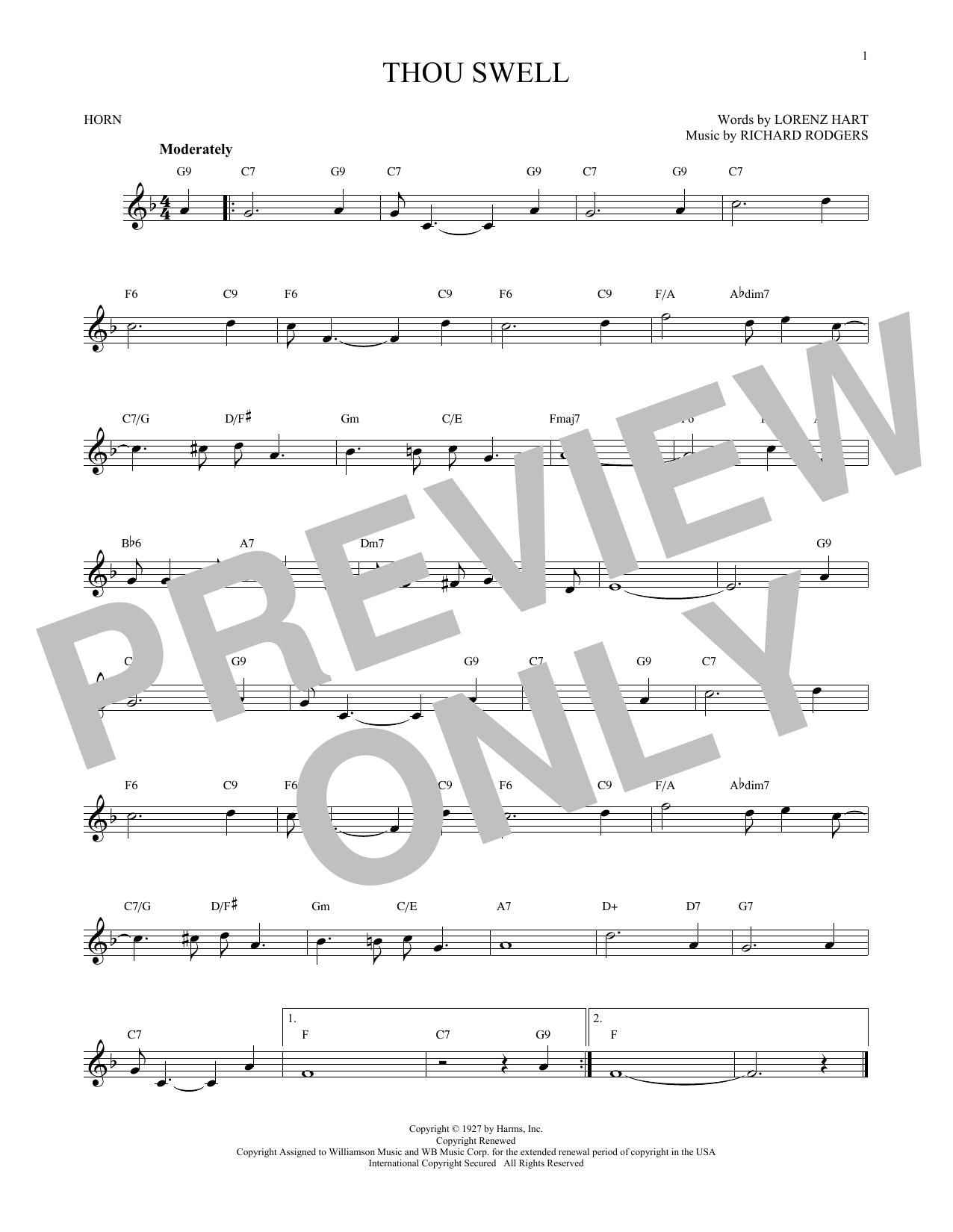 Partition autre Thou Swell de Rodgers & Hart - Cor