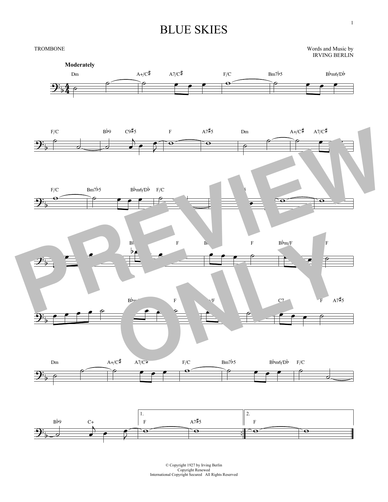 Partition autre Blue Skies de Irving Berlin - Trombone