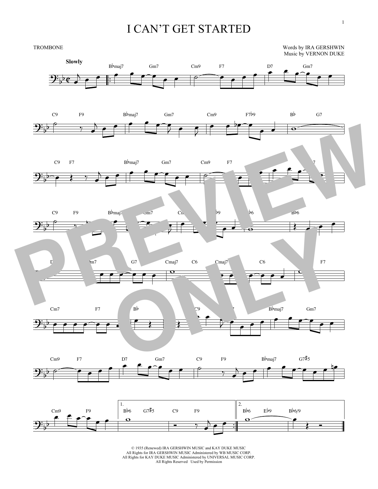 Partition autre I Can't Get Started de Ira Gershwin - Trombone