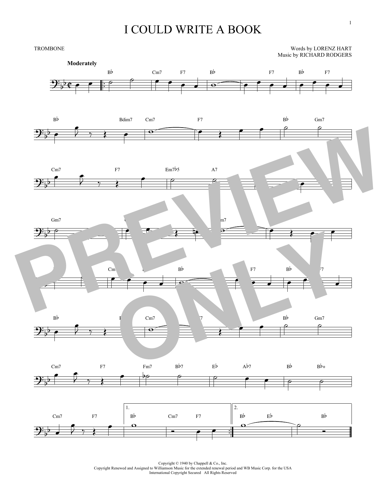 Partition autre I Could Write A Book de Rodgers & Hart - Trombone