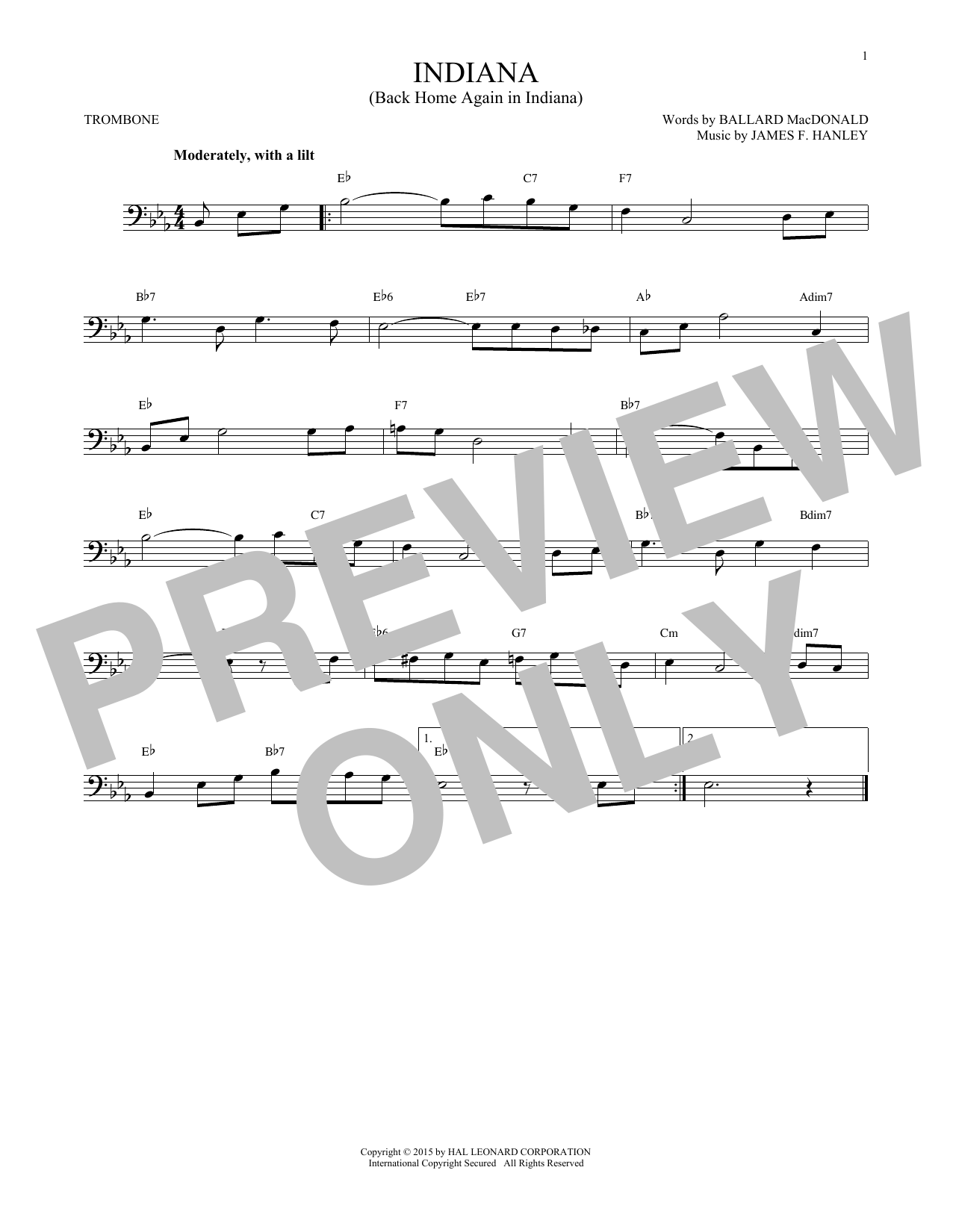Partition autre Indiana (Back Home Again In Indiana) de James F. Hanley - Trombone