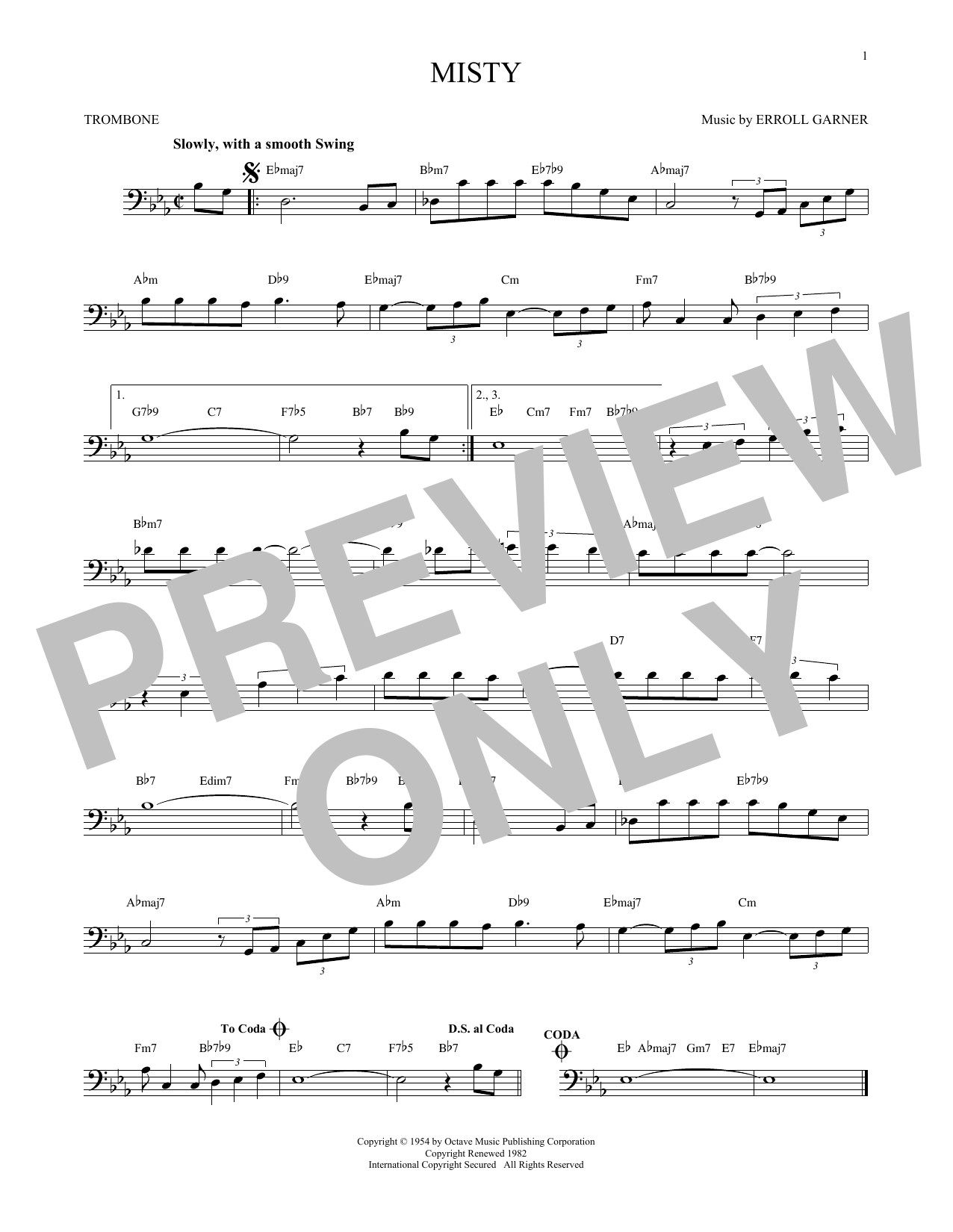 Partition autre Misty de Erroll Garner - Trombone