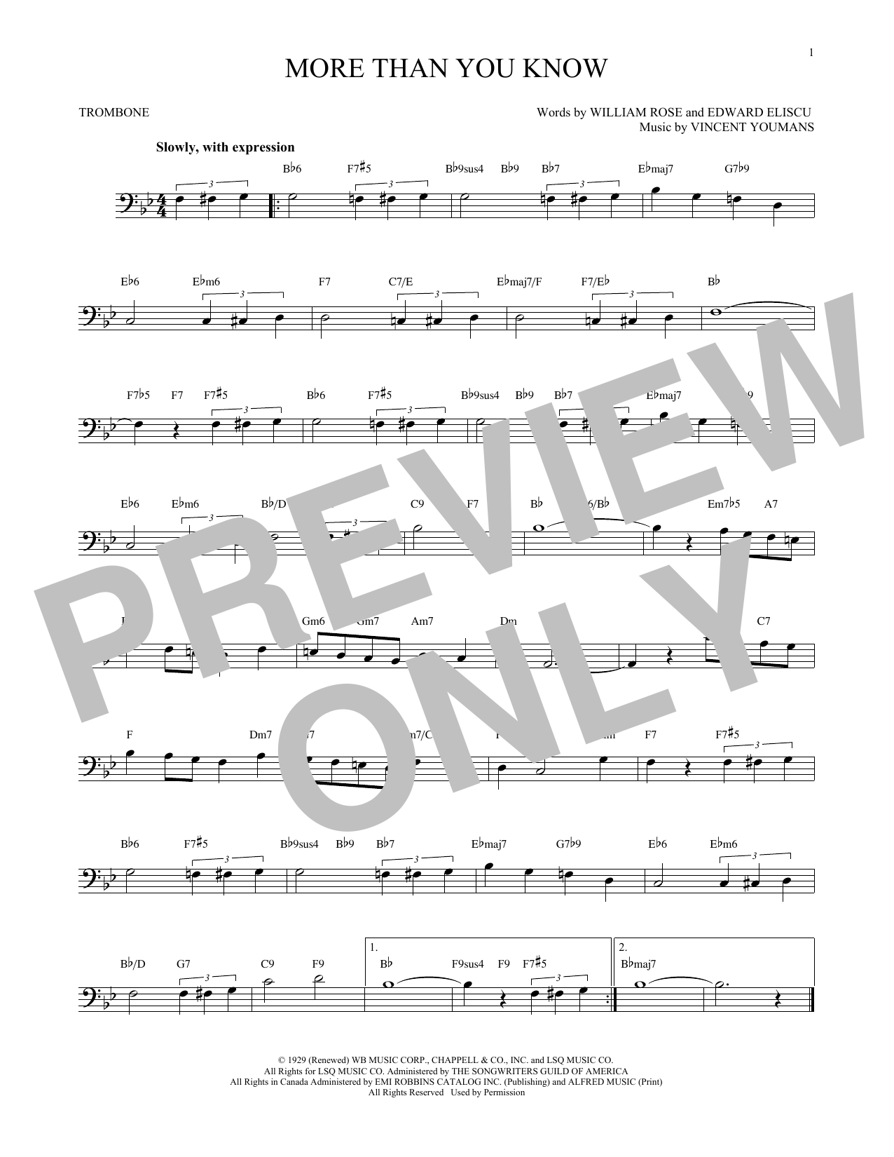 Partition autre More Than You Know de Vincent Youmans - Trombone